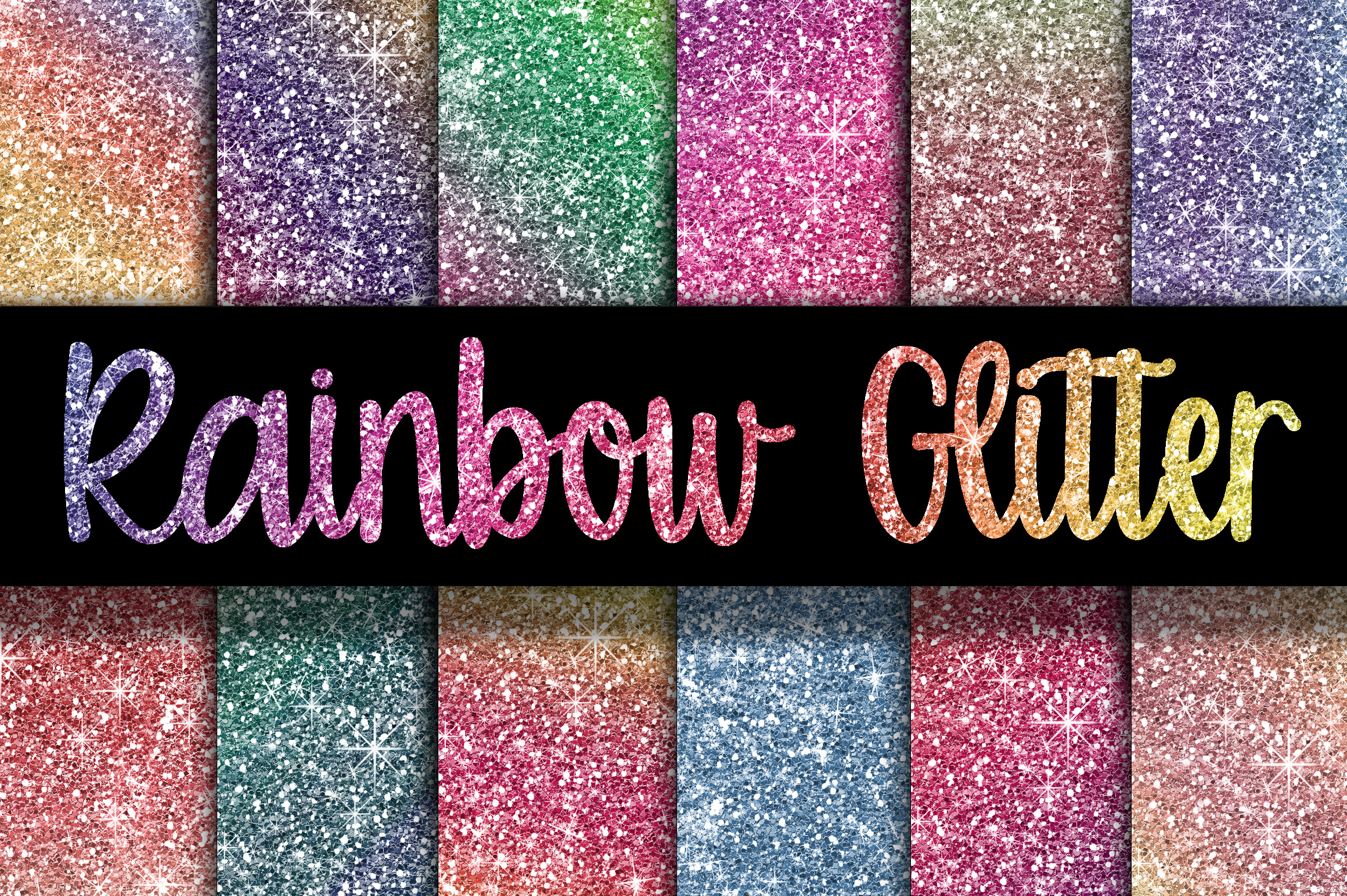 Print on Demand: Rainbow Glitter Digital Paper Textures Gráfico Fondos Por oldmarketdesigns