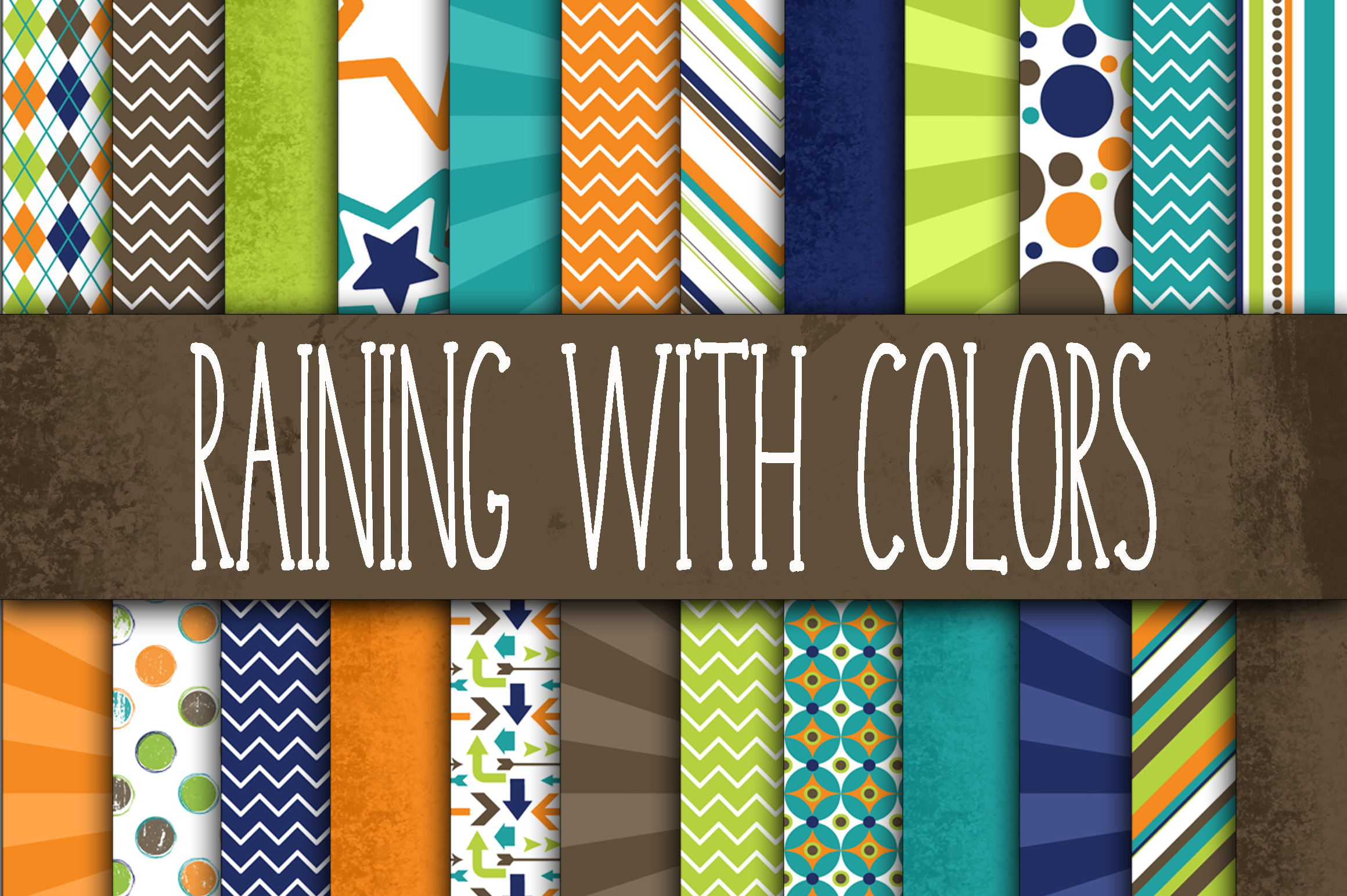 Print on Demand: Raining with Colors Digital Paper Pack Graphic Backgrounds By oldmarketdesigns