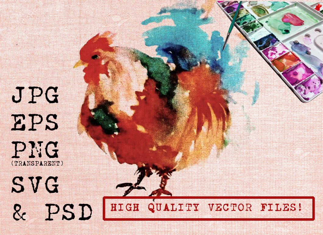 Red Rooster Watercolor Graphic Illustrations By Ambar Art