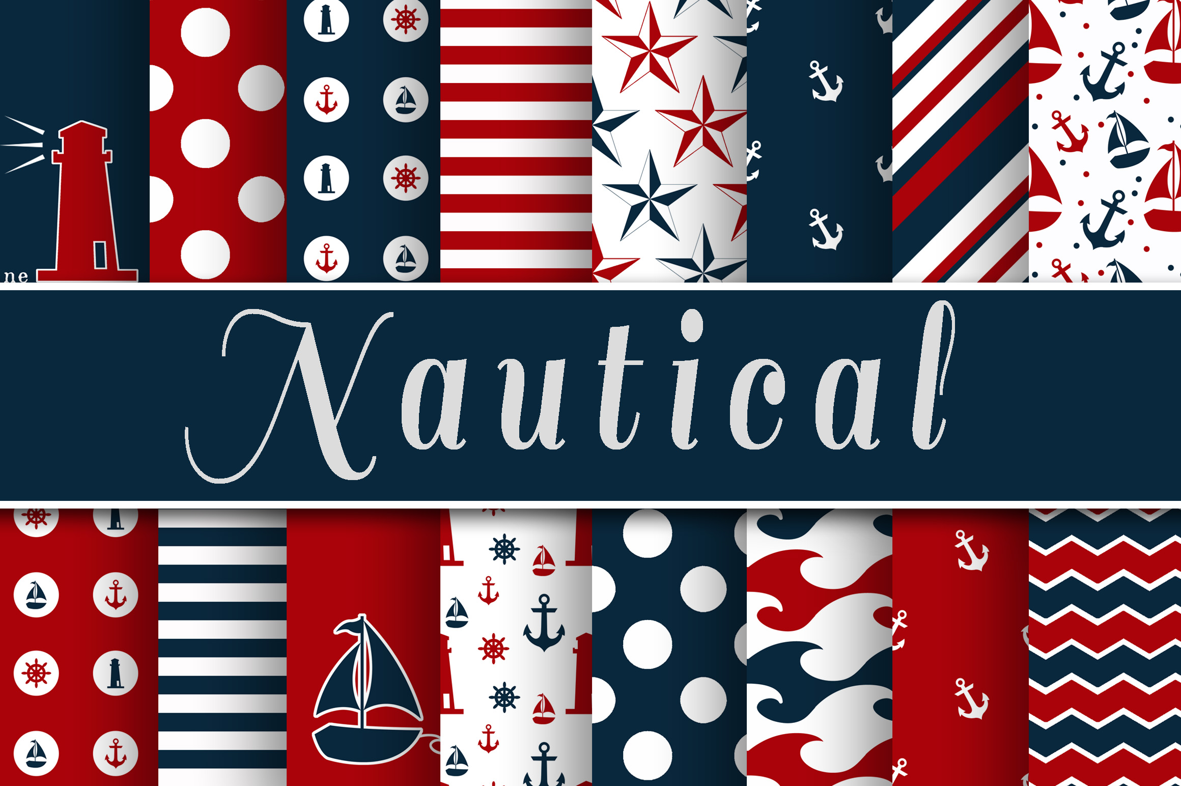 Red and Navy Blue Nautical Designs Digital Paper Graphic Backgrounds By oldmarketdesigns