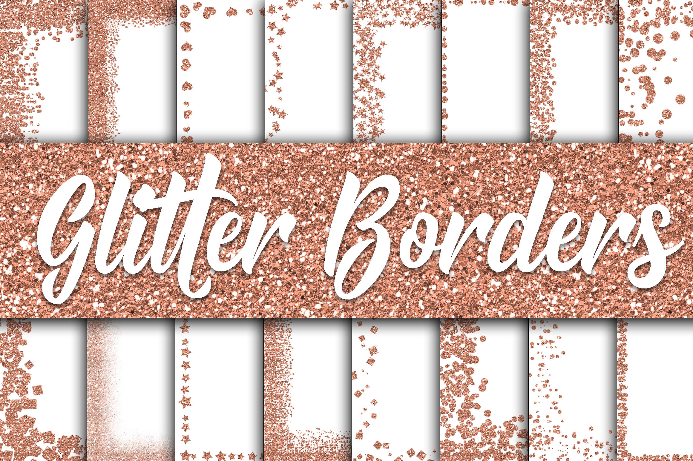Rose Gold Glitter Borders Digital Paper Graphic By oldmarketdesigns Image 1