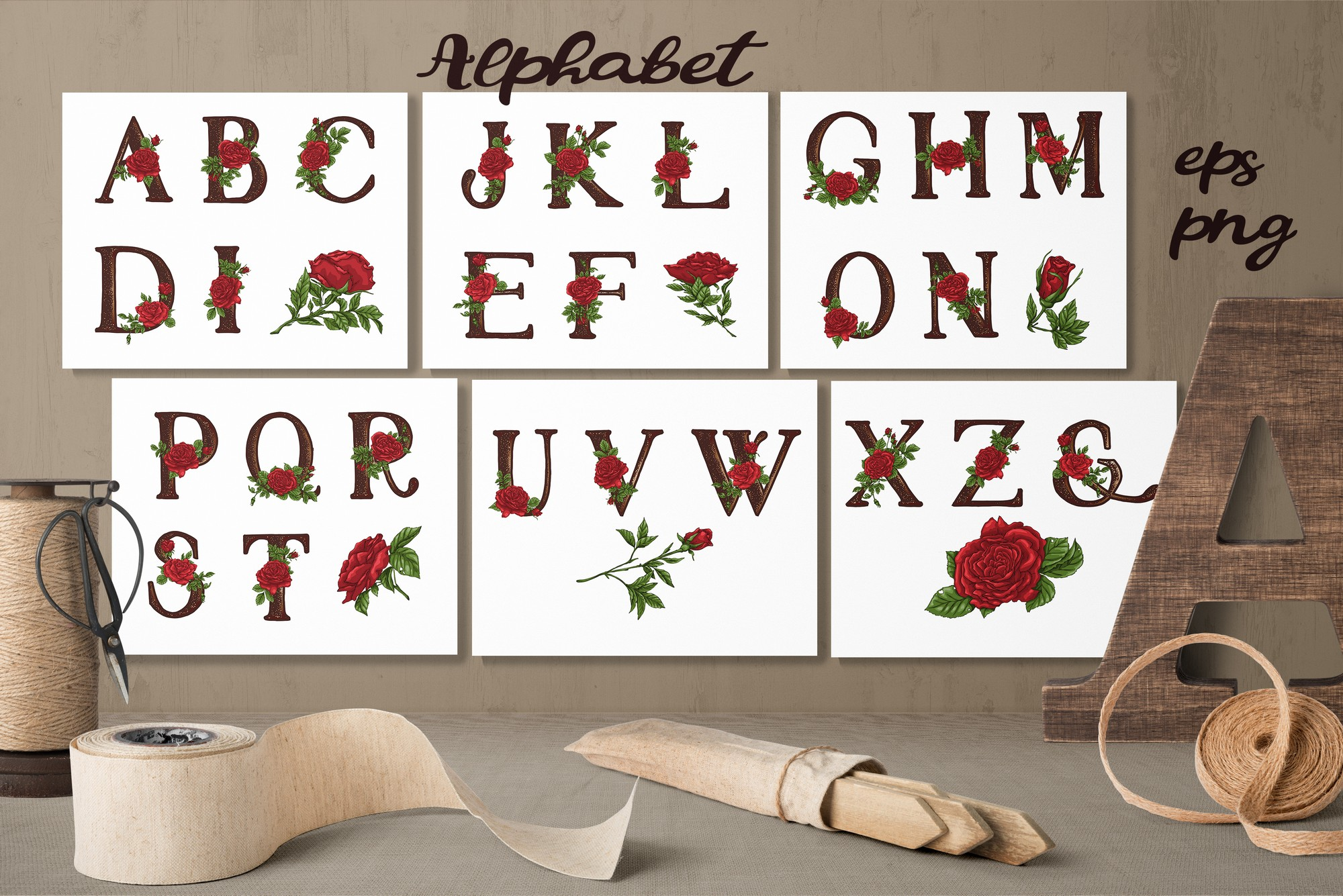Print on Demand: Roses – Vector Alphabets Set Graphic Illustrations By nicjulia