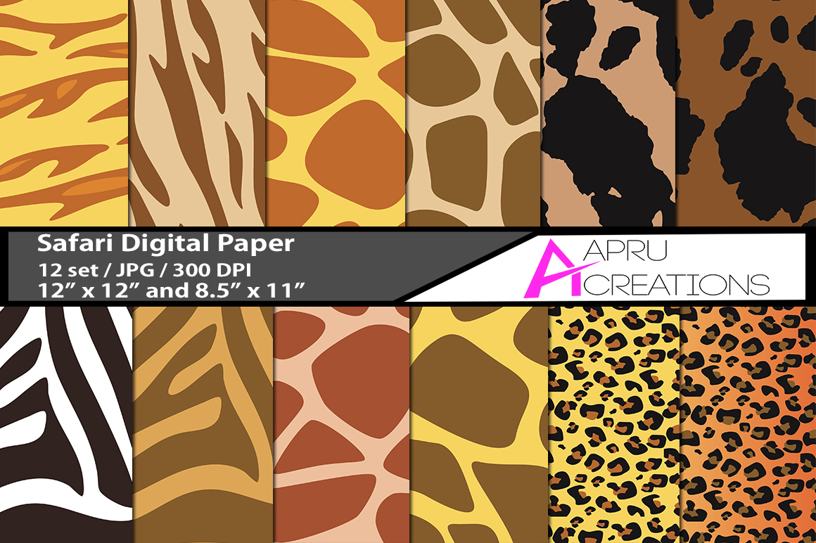 Download Free Safari Digital Papers Graphic By Aparnastjp Creative Fabrica for Cricut Explore, Silhouette and other cutting machines.