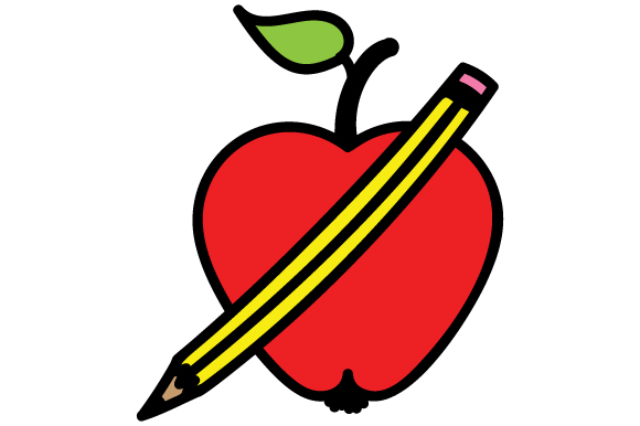 School Apple with Pencil Designs & Drawings Craft Cut File By Creative Fabrica Crafts