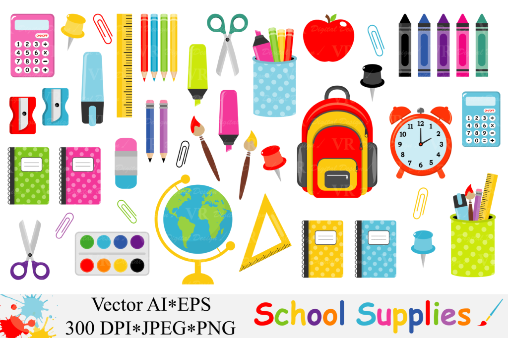 Download Free School Supplies Clipart Back To School Vector Grafico Por Vr for Cricut Explore, Silhouette and other cutting machines.