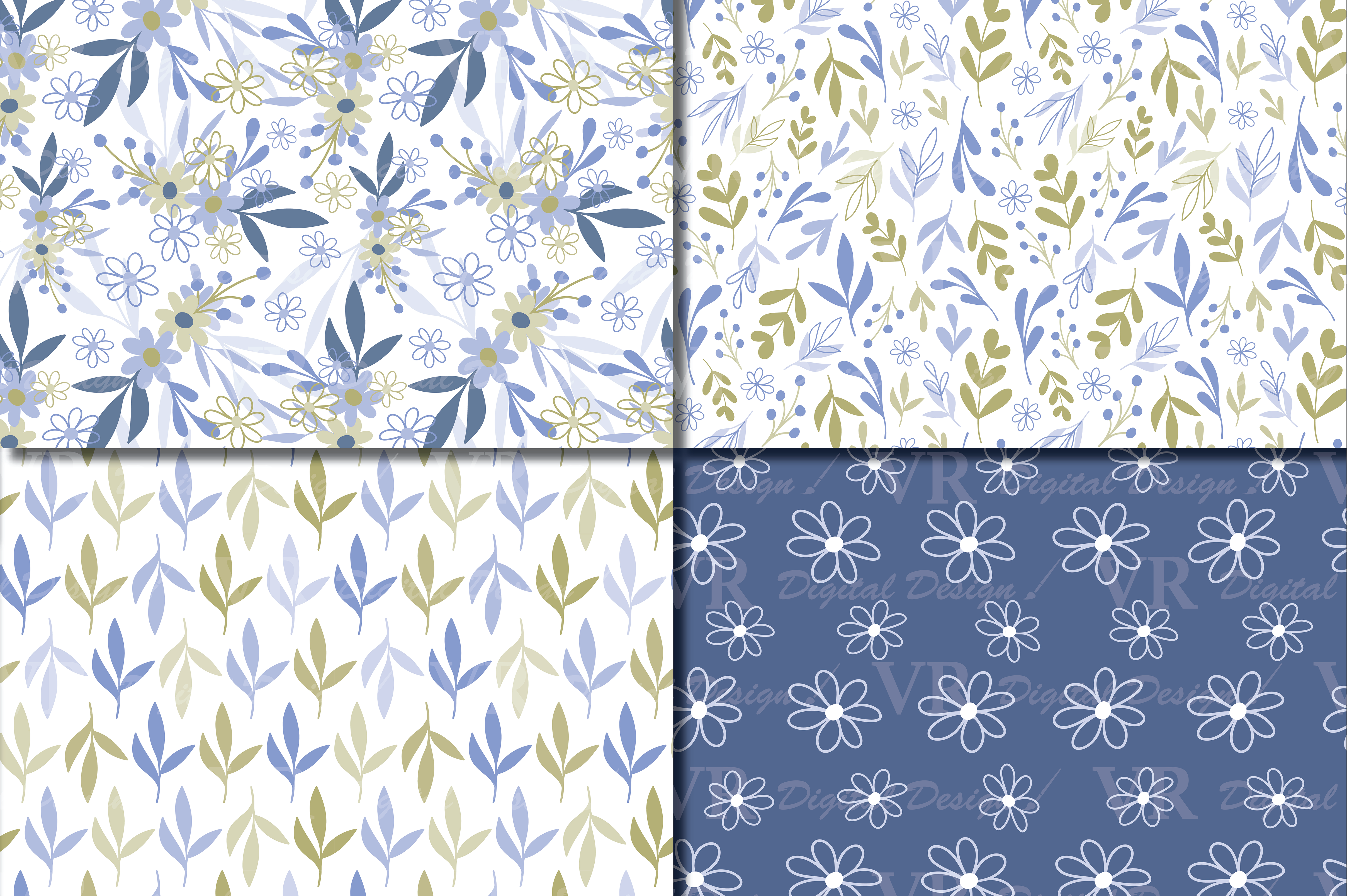 Seamless Blue and Green Hand Drawn Flowers and Leaves Digital Paper / Pastel Foliage Seamless Pattern Graphic Patterns By VR Digital Design - Image 2