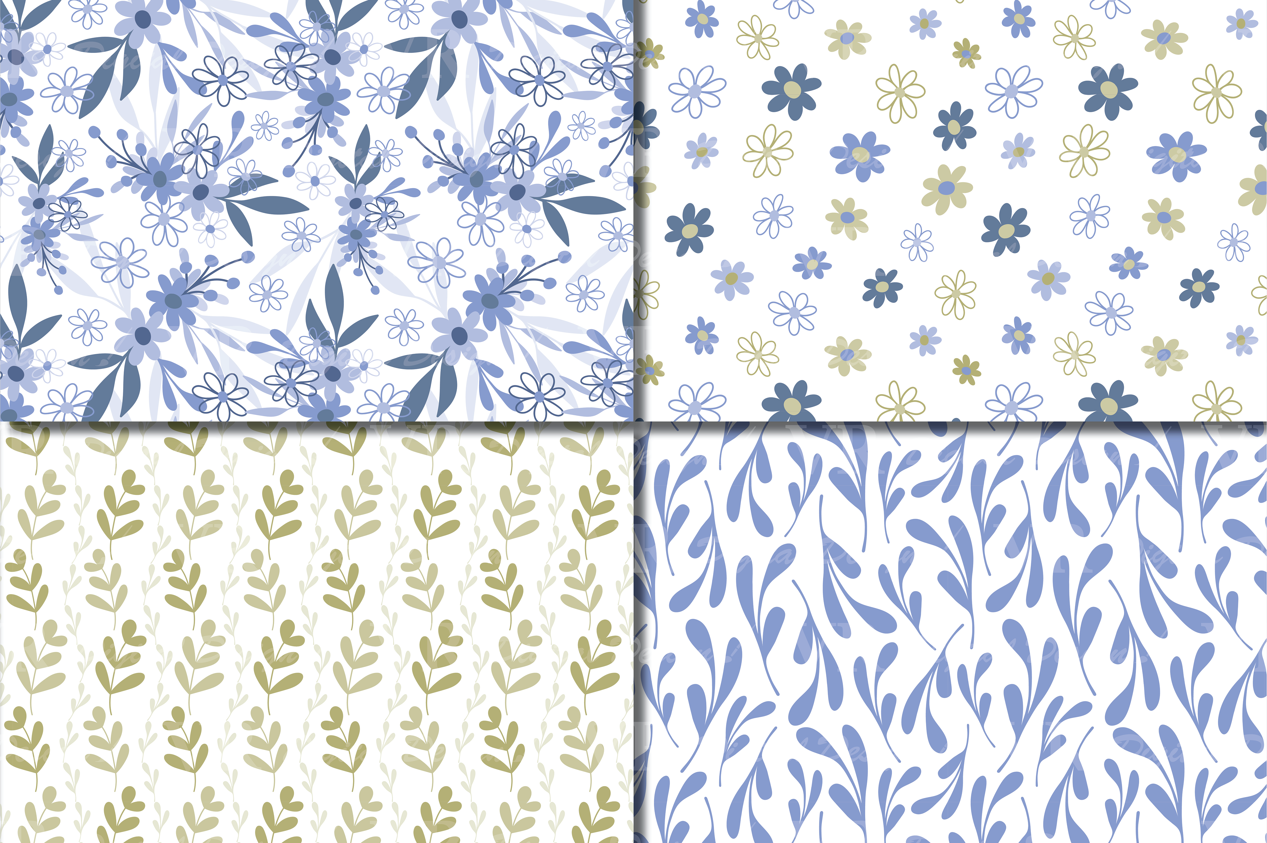 Seamless Blue and Green Hand Drawn Flowers and Leaves Digital Paper / Pastel Foliage Seamless Pattern Graphic Patterns By VR Digital Design - Image 3