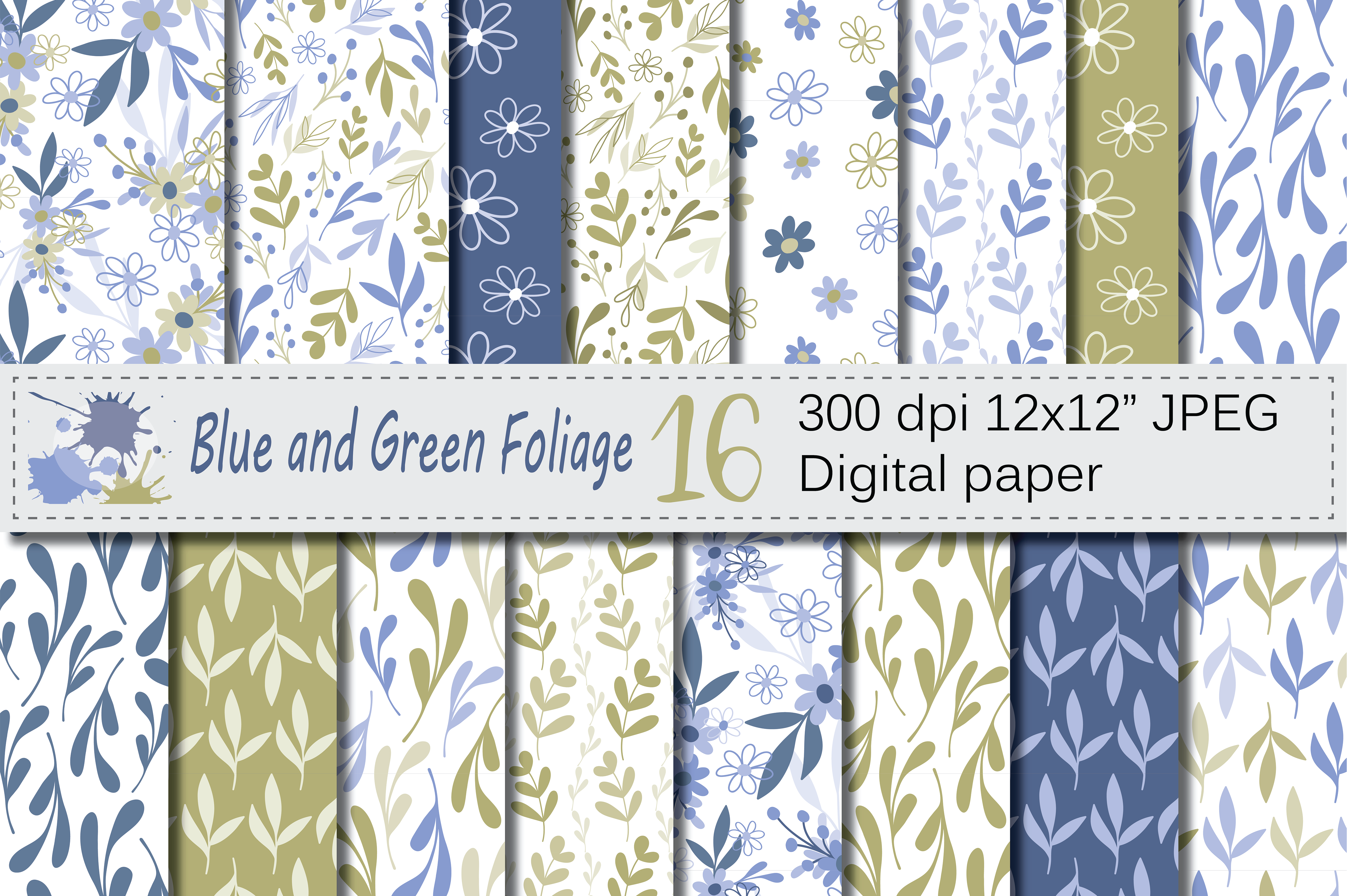 Seamless Blue and Green Hand Drawn Flowers and Leaves Digital Paper / Pastel Foliage Seamless Pattern Graphic Patterns By VR Digital Design
