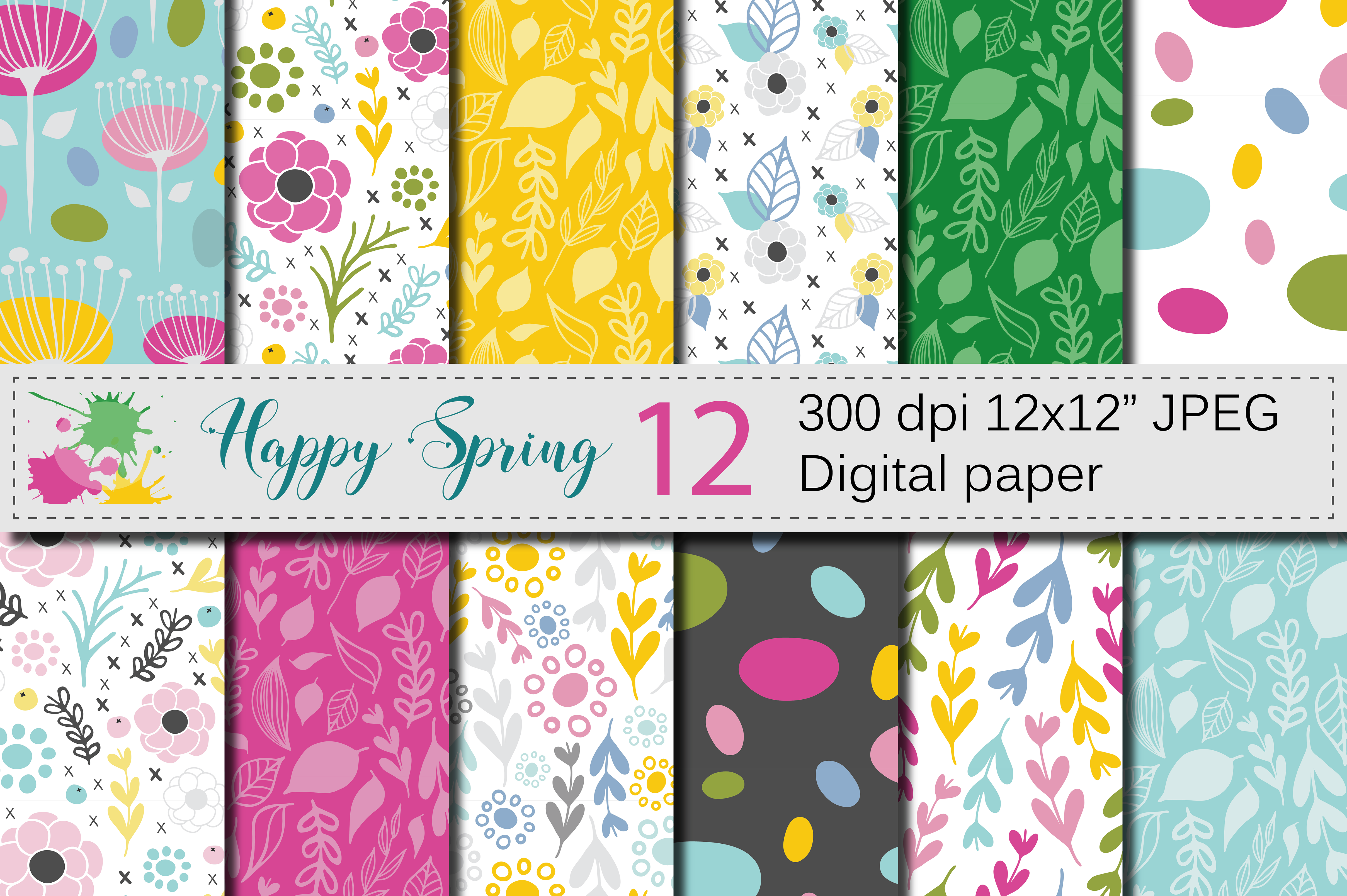 Seamless Bright Spring Digital Paper Hand Drawn Flowers Leaves