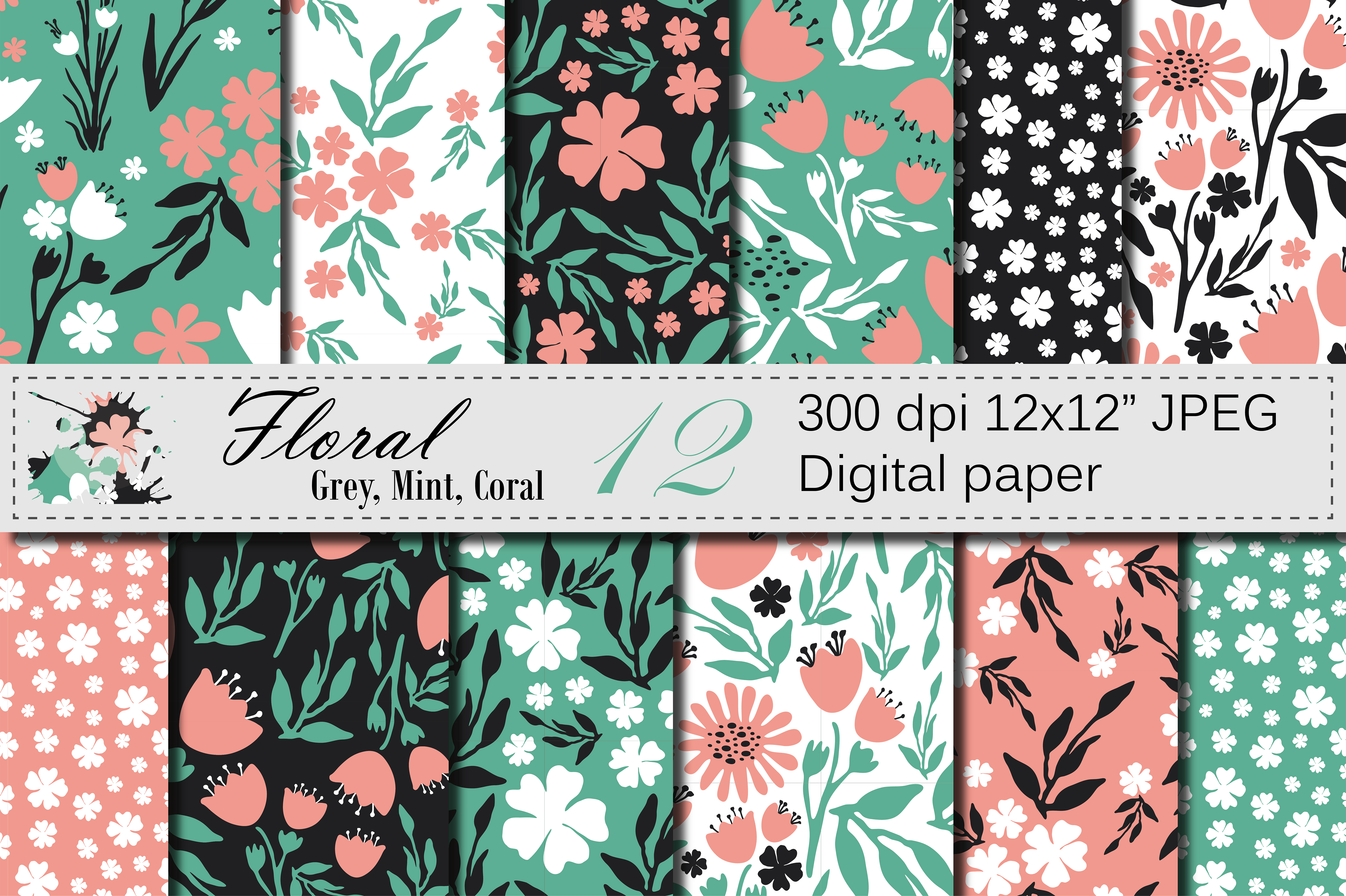 Seamless Floral Digital Paper - Gray Mint Coral Patterns Graphic Patterns By VR Digital Design