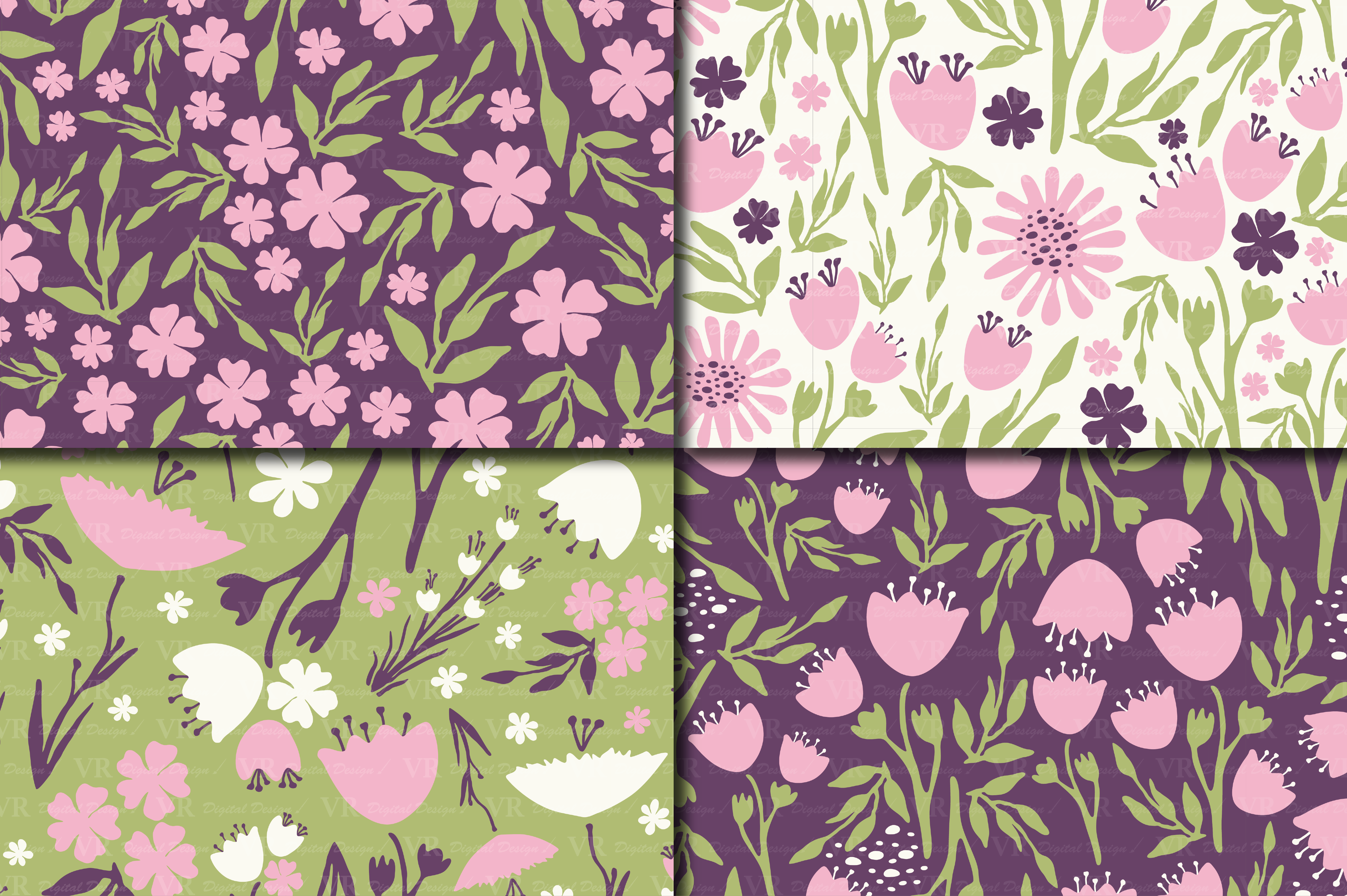 Seamless Floral Digital Paper Pink Purple Green Patterns Graphic