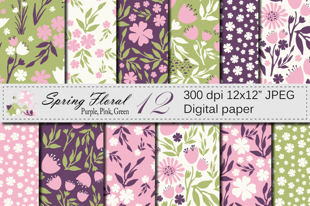 Download Free Seamless Floral Digital Paper Pink Purple Green Patterns Graphic for Cricut Explore, Silhouette and other cutting machines.