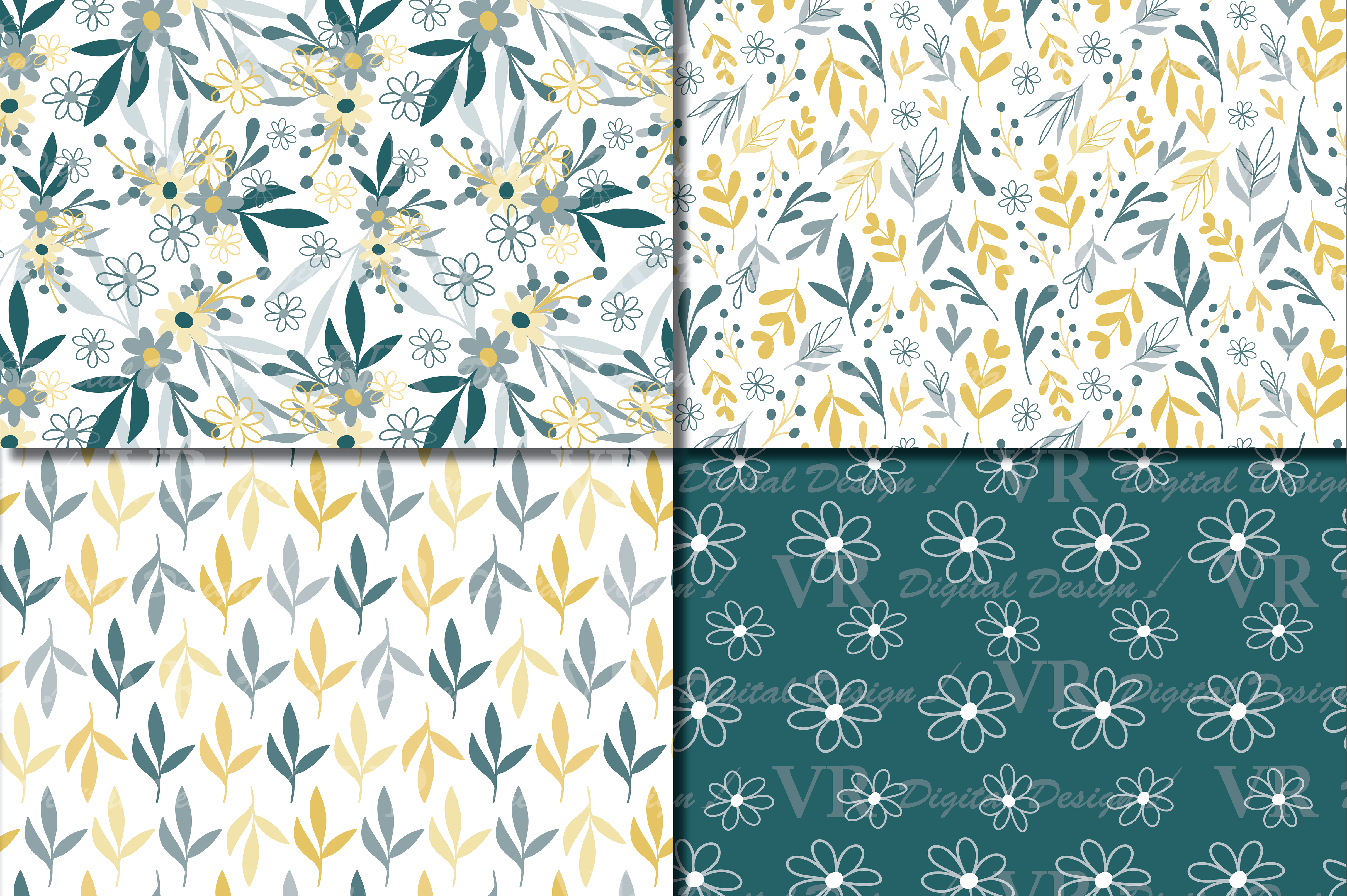 Download Free Seamless Green And Yellow Hand Drawn Flowers And Leaves Digital for Cricut Explore, Silhouette and other cutting machines.