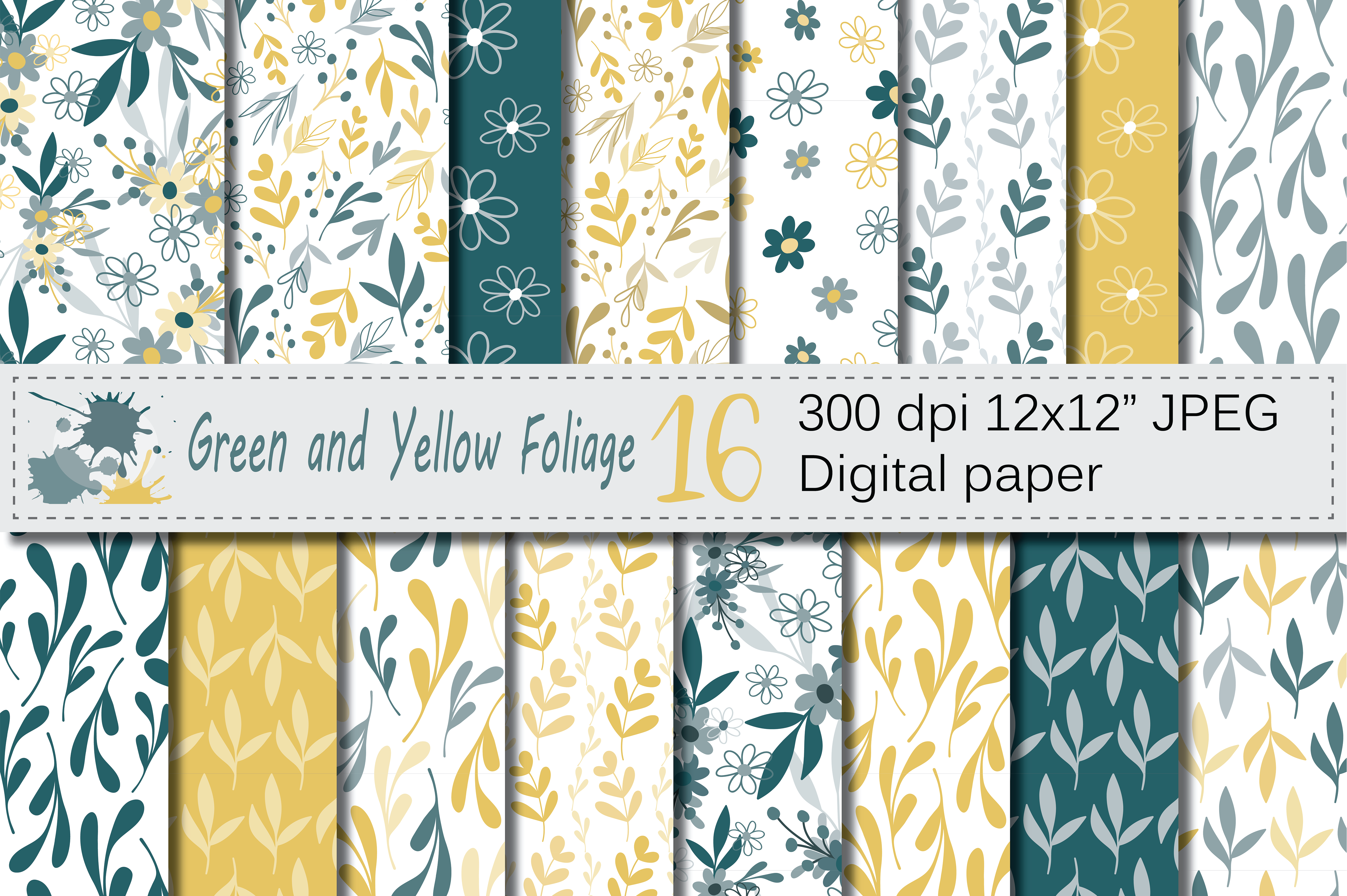 Seamless Green and Yellow Hand Drawn Flowers and Leaves Digital Paper / Foliage Seamless Pattern Graphic Patterns By VR Digital Design