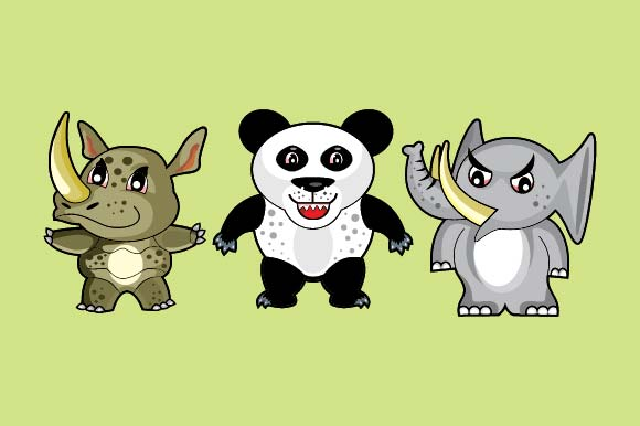 Set of Funny Doodle Animals Graphic Illustrations By emnazar2009 - Image 1
