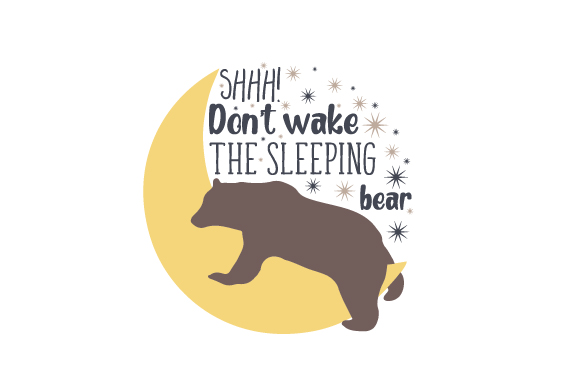 Shhh! Don't Wake the Sleeping Bear Bedroom Craft Cut File By Creative Fabrica Crafts