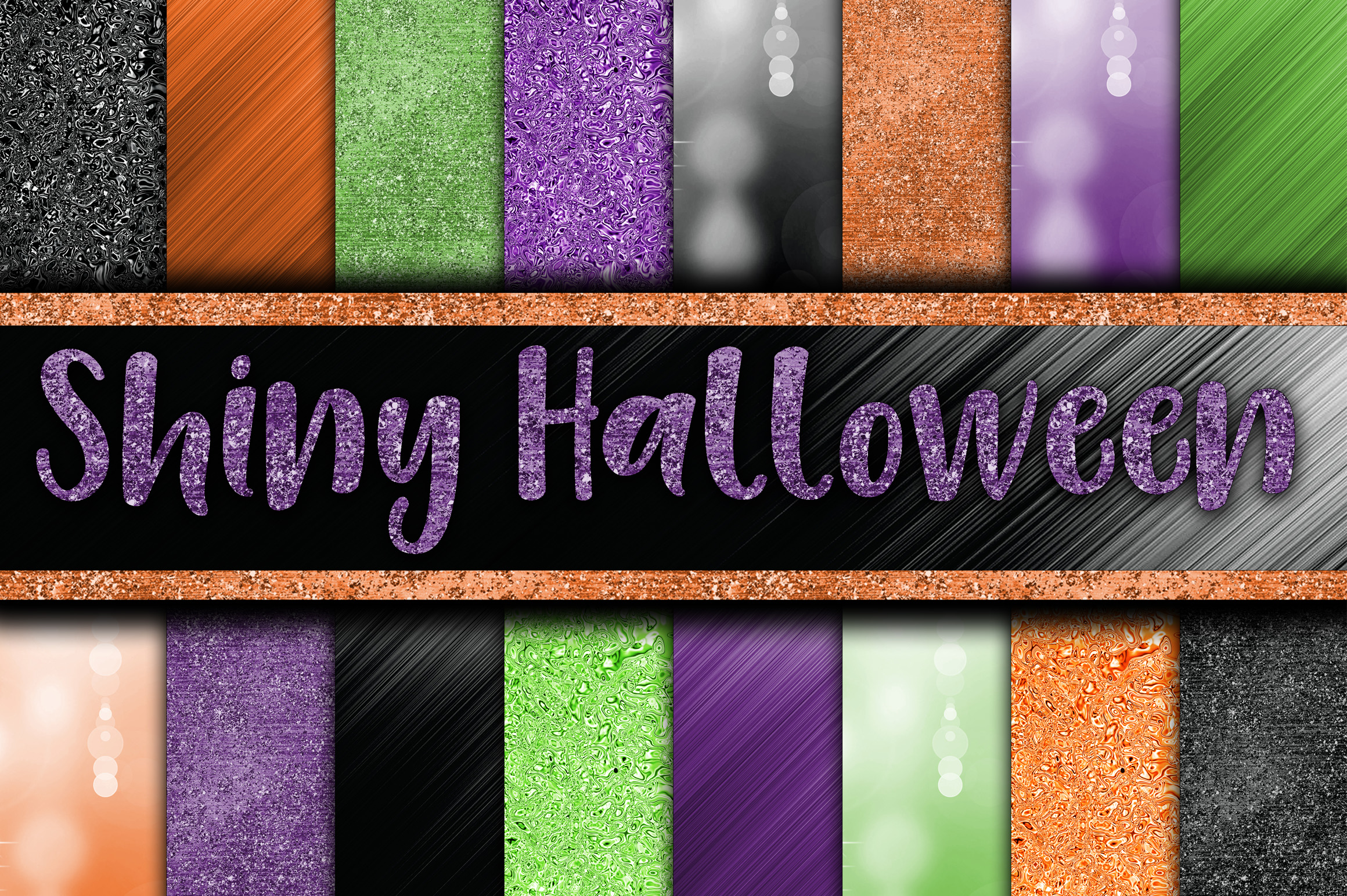Print on Demand: Shiny Halloween Digital Papers Graphic Backgrounds By oldmarketdesigns