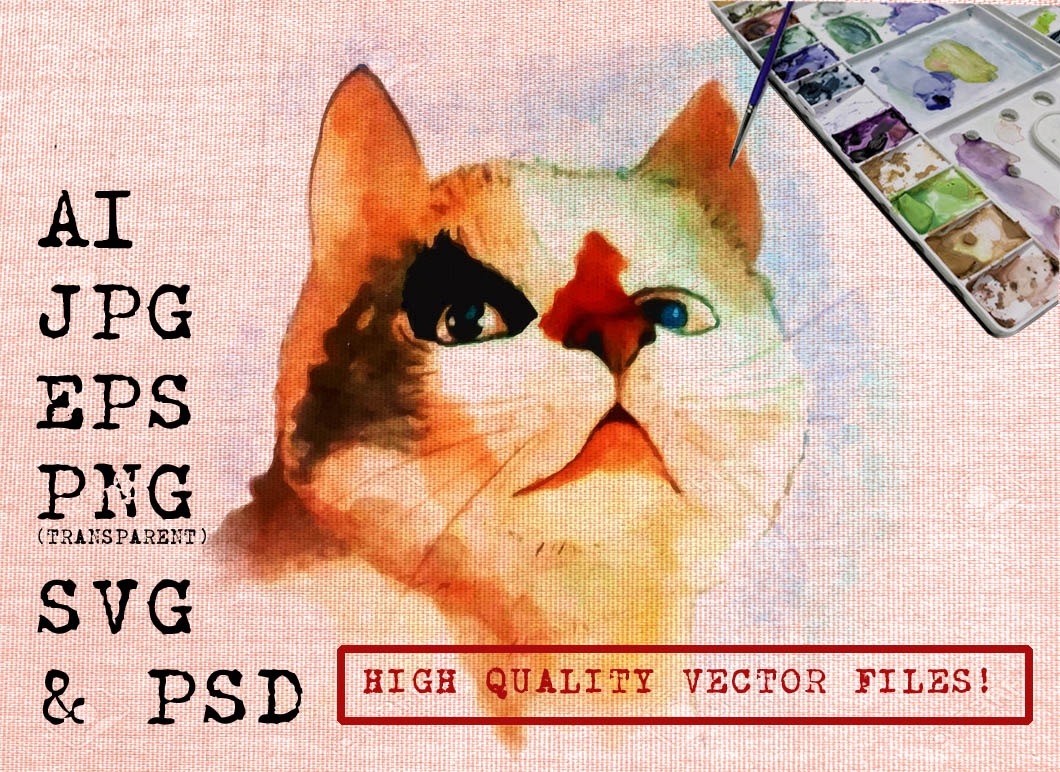 Shocking Cat Watercolor Graphic Illustrations By Ambar Art