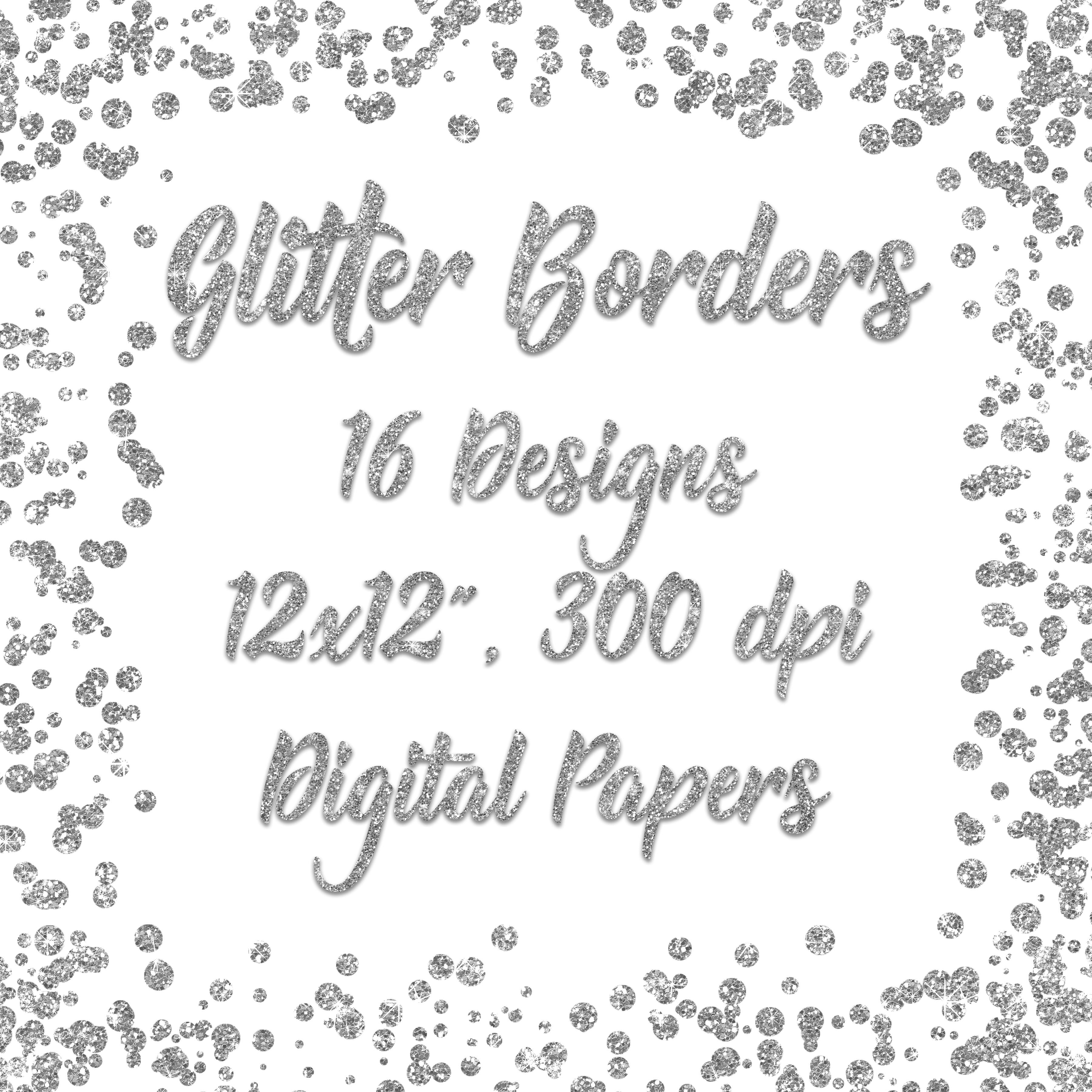 Print on Demand: Silver Glitter Borders Digital Paper Graphic Backgrounds By oldmarketdesigns - Image 2