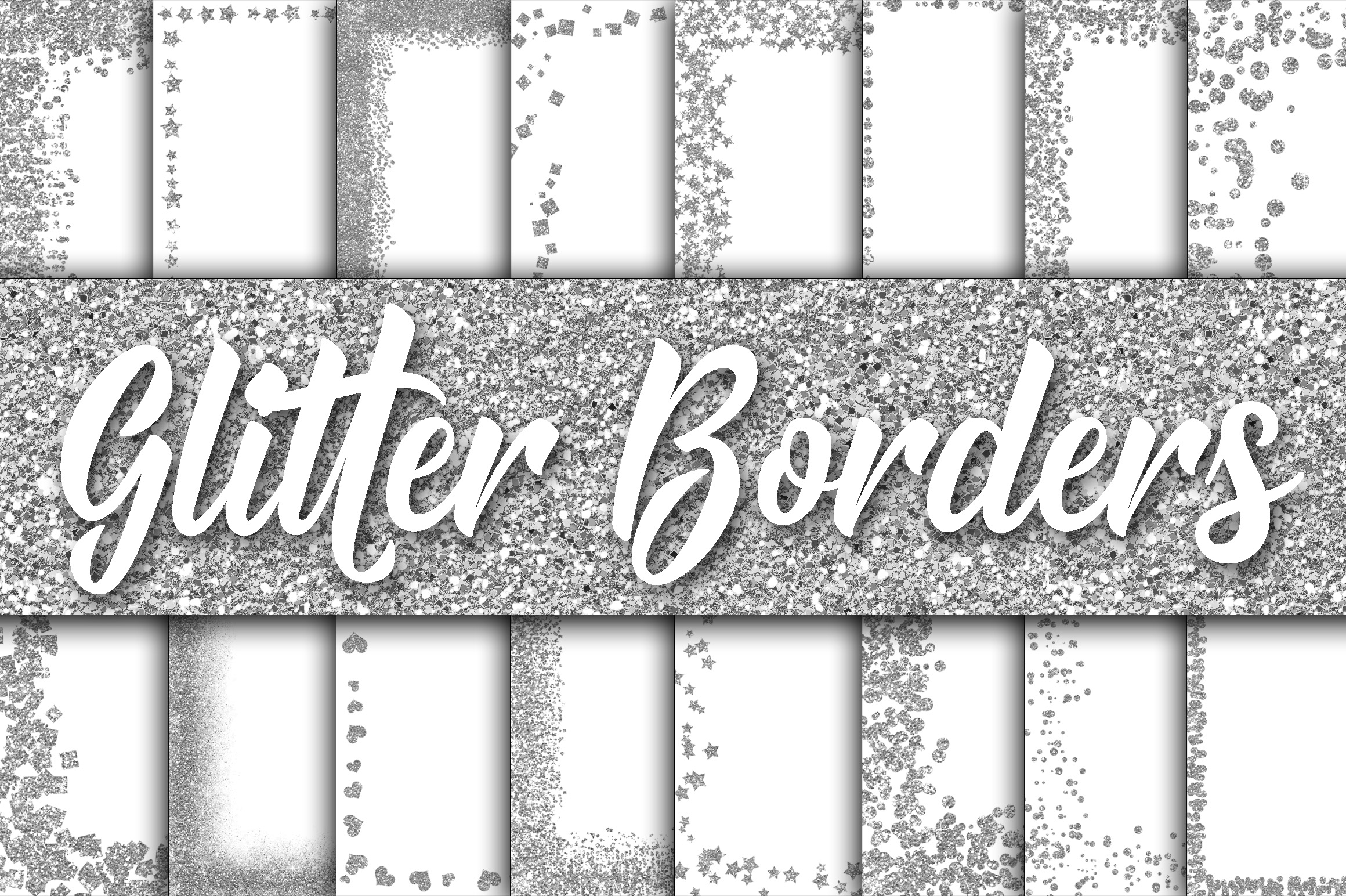 Download Free Silver Glitter Borders Digital Paper Graphic By Oldmarketdesigns for Cricut Explore, Silhouette and other cutting machines.