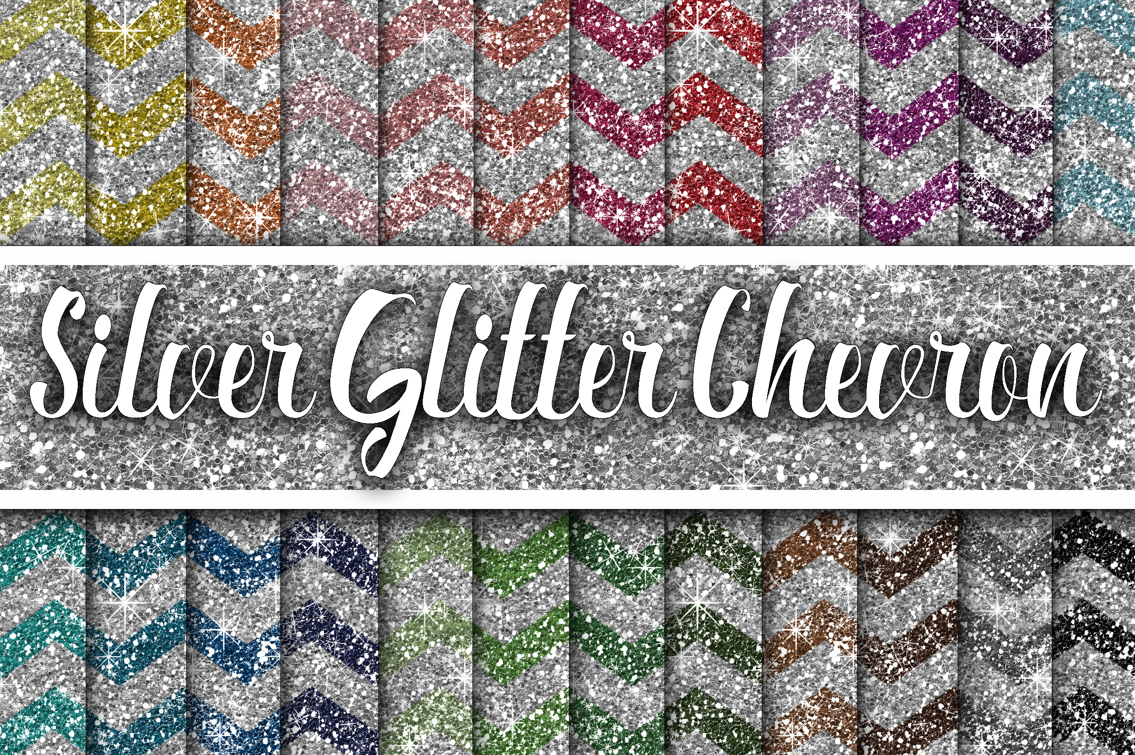 Silver Glitter Chevron Textures Graphic Backgrounds By oldmarketdesigns