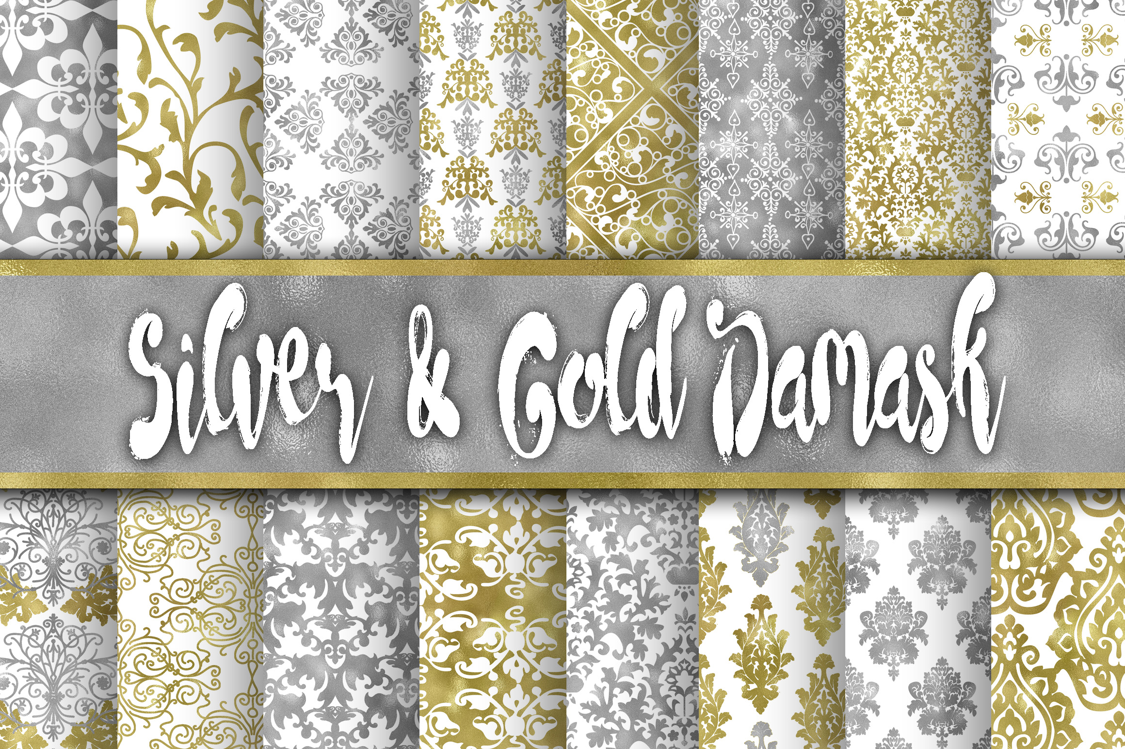 Print on Demand: Silver and Gold Damask Digital Paper Graphic Backgrounds By oldmarketdesigns