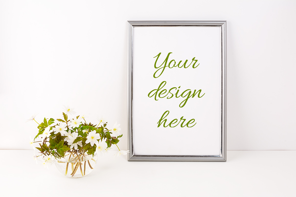 Print on Demand: Silver Frame Mockup with Rue Anemone Flowers Graphic Product Mockups By TasiPas