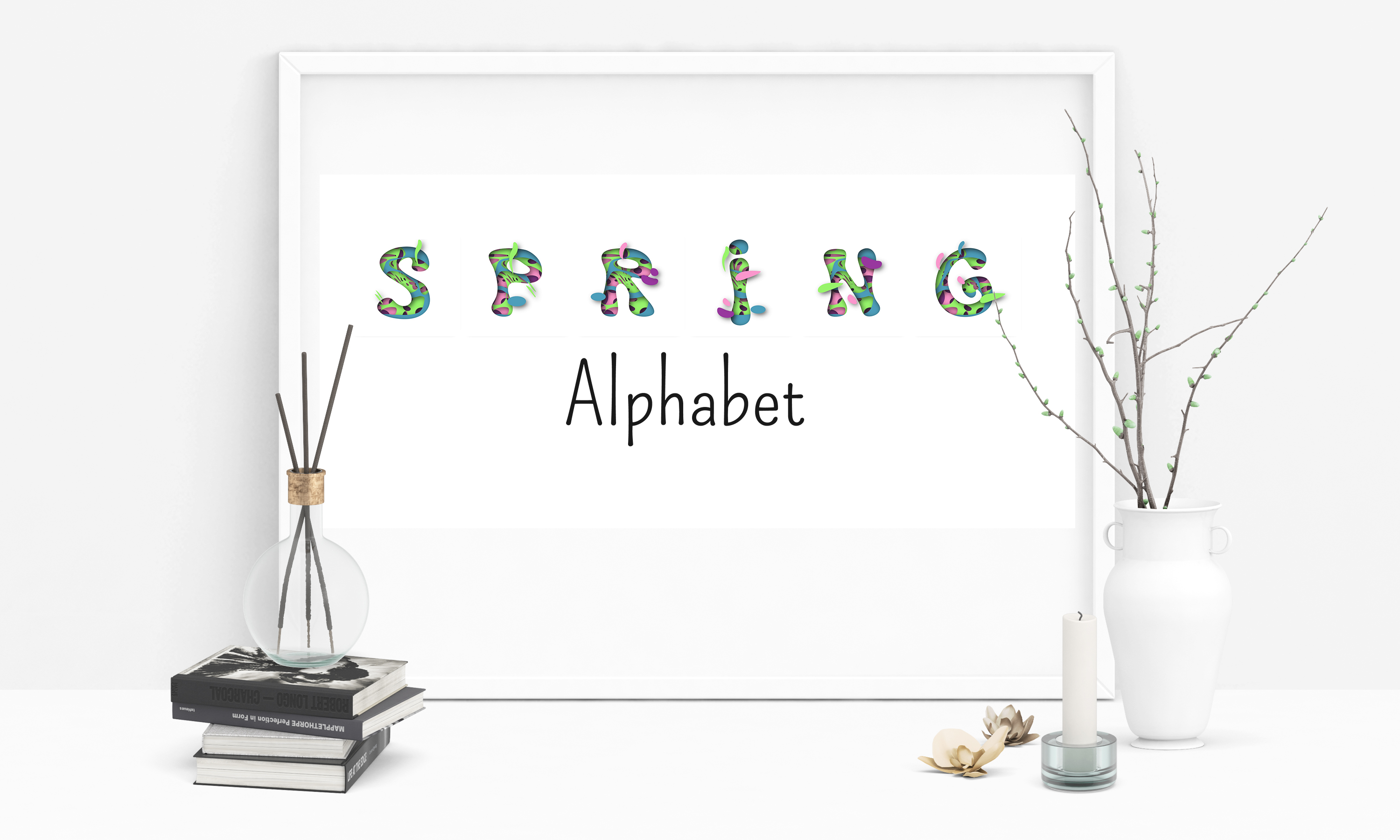Spring Alphabet in Paper Art Style Graphic Illustrations By inkoly.art