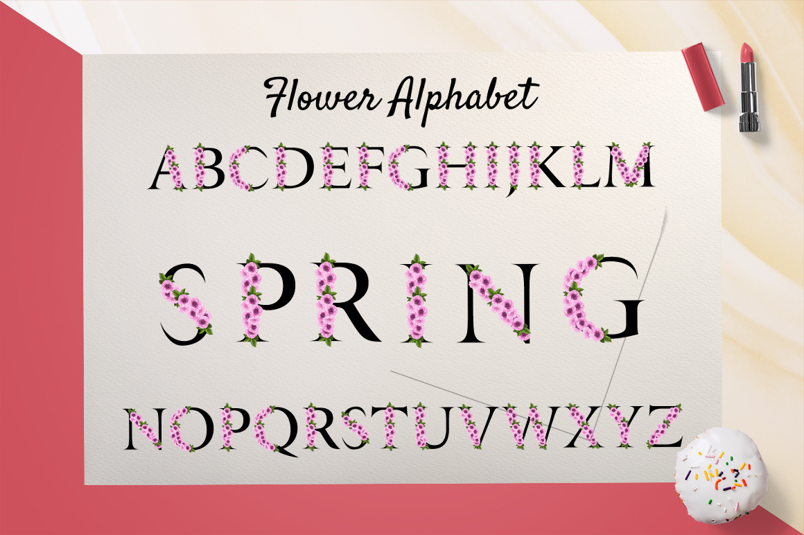 Spring Alphabet with Sakura Flowers Graphic By InkandBrush