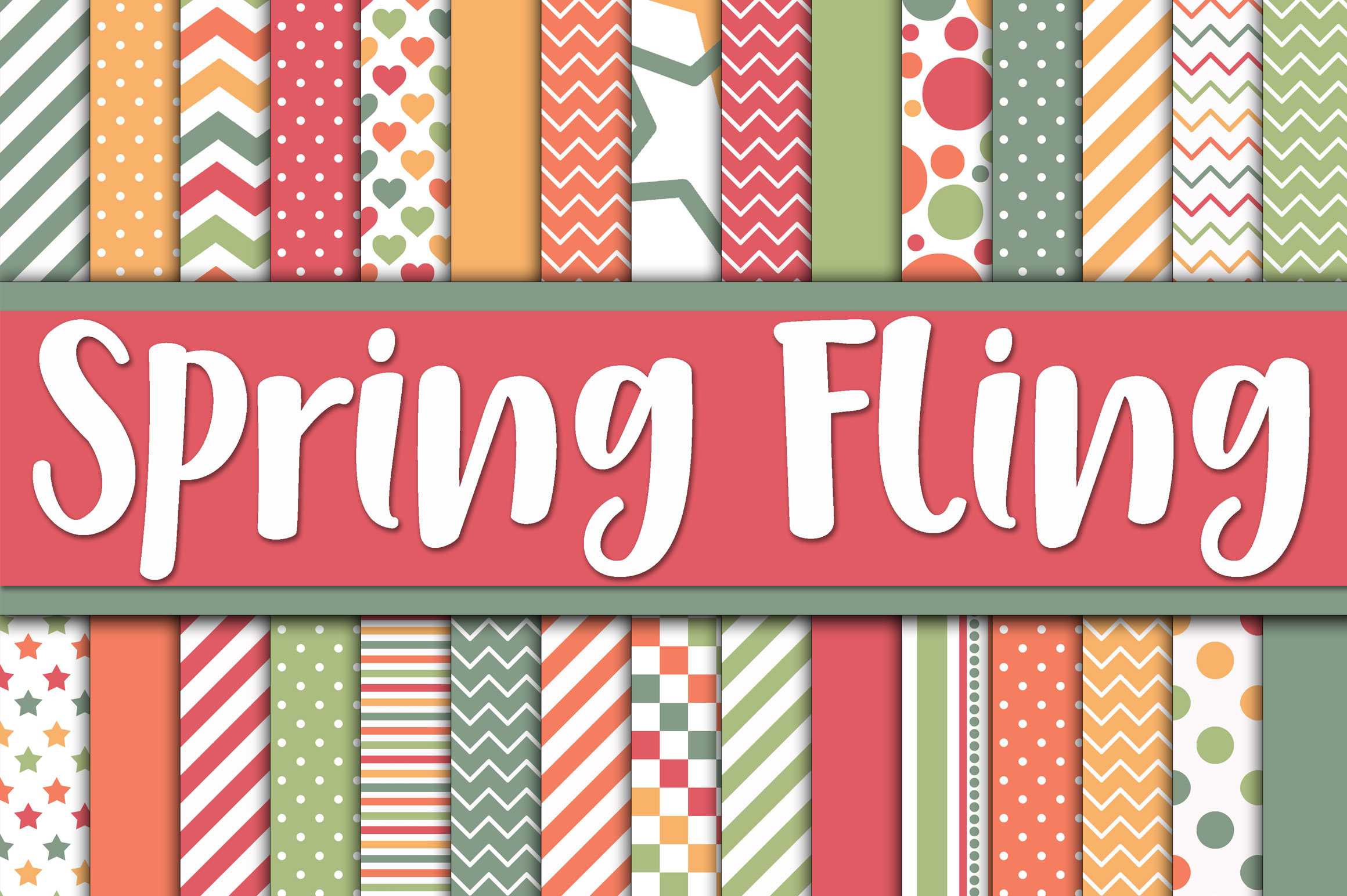 Print on Demand: Spring Fling Digital Paper Graphic Backgrounds By oldmarketdesigns