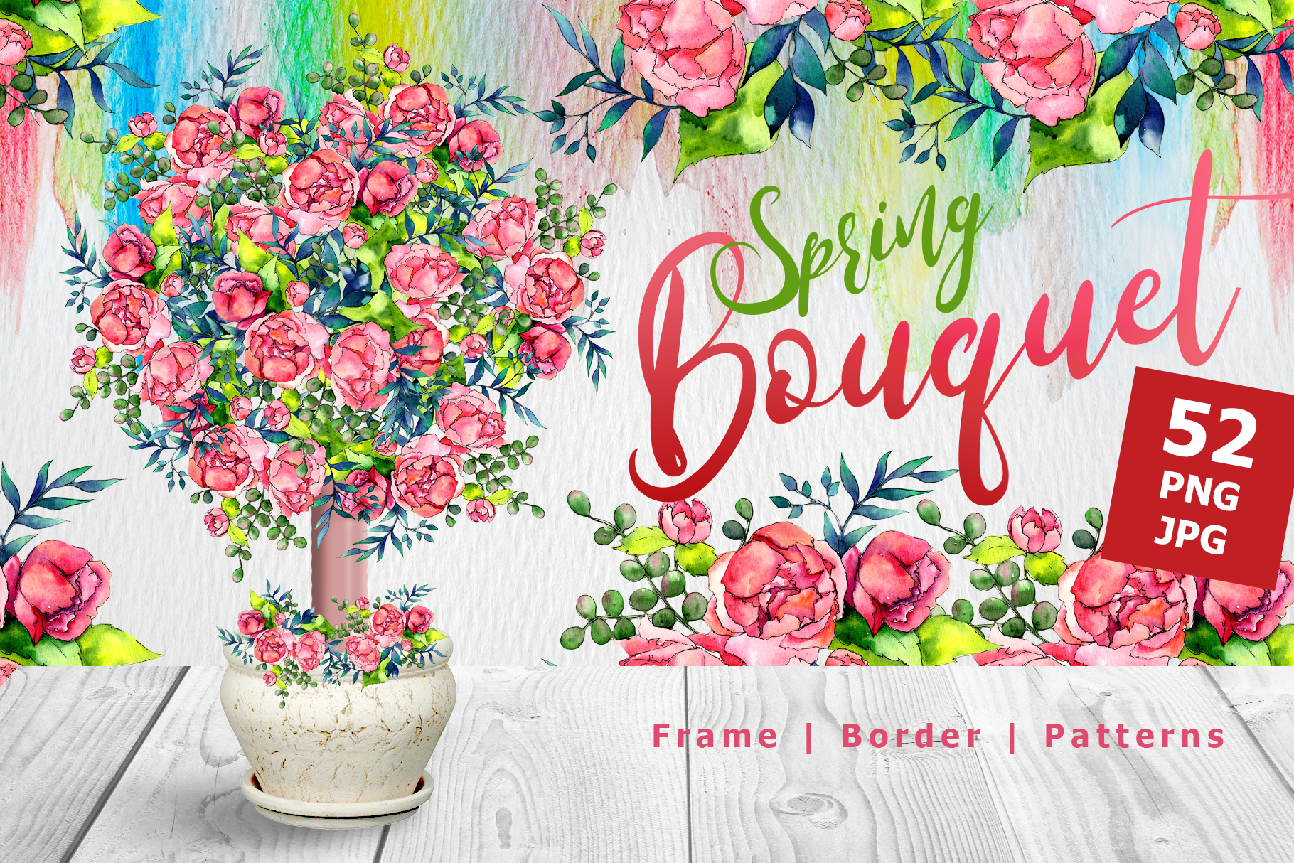 Print on Demand: Spring Bouquet PNG Watercolor Set Graphic Illustrations By MyStocks