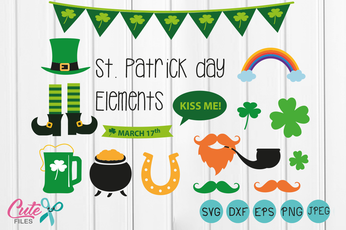 Download Free St Patrick Day Elements Graphic By Cute Files Creative Fabrica for Cricut Explore, Silhouette and other cutting machines.