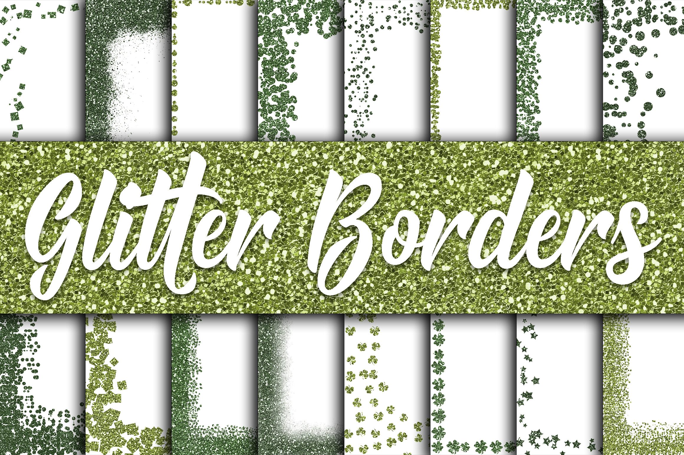 St Patricks Day Glitter Borders Digital Paper Graphic Backgrounds By oldmarketdesigns