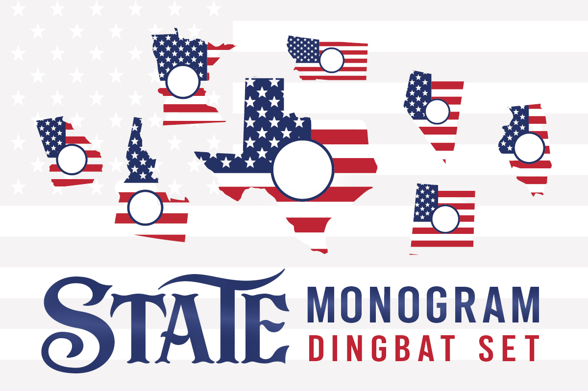 Print on Demand: State Monogram Dingbat Dingbats Font By Creative Fabrica Fonts