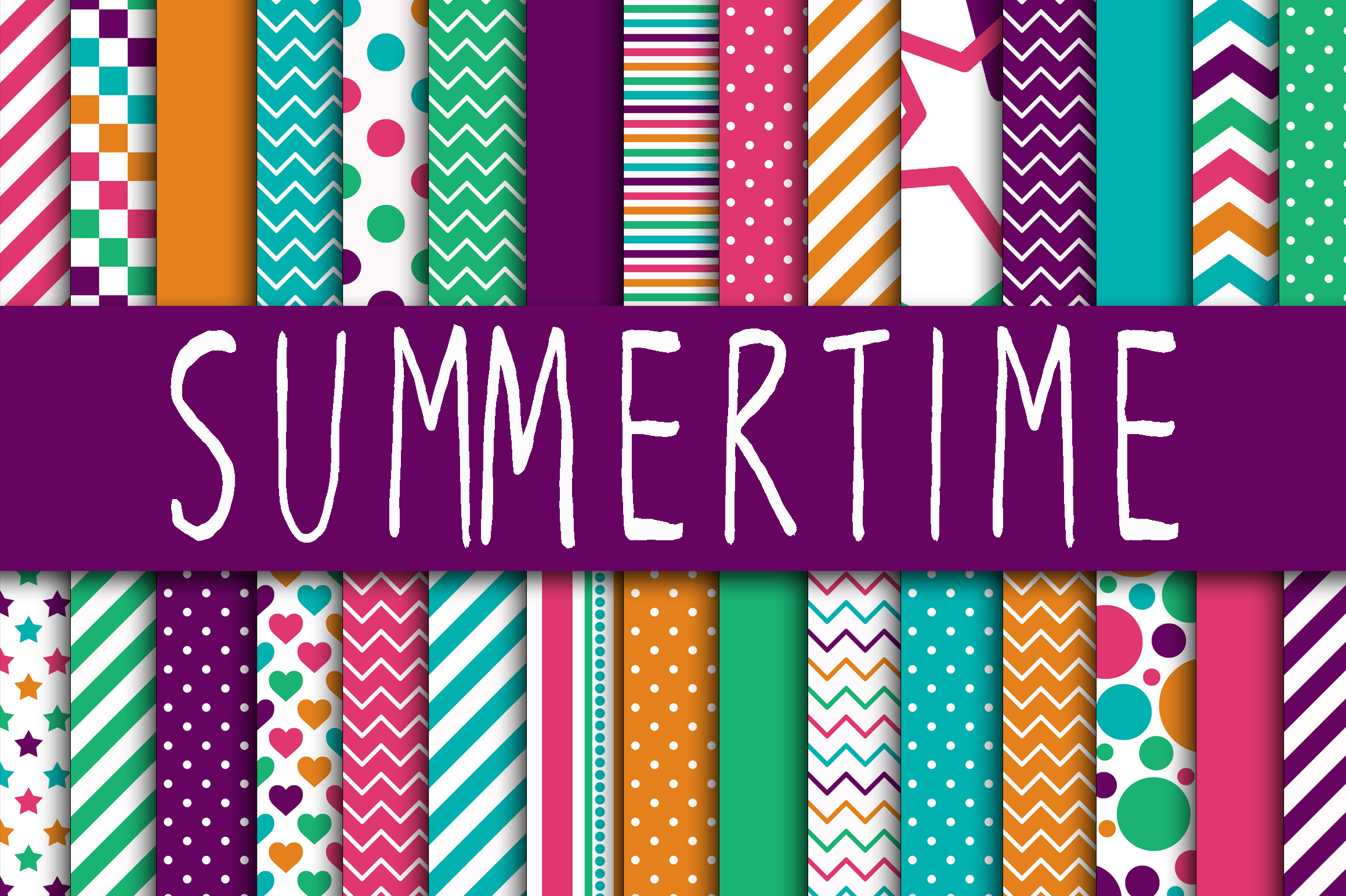 Print on Demand: SummerTime Digital Papers Graphic Backgrounds By oldmarketdesigns