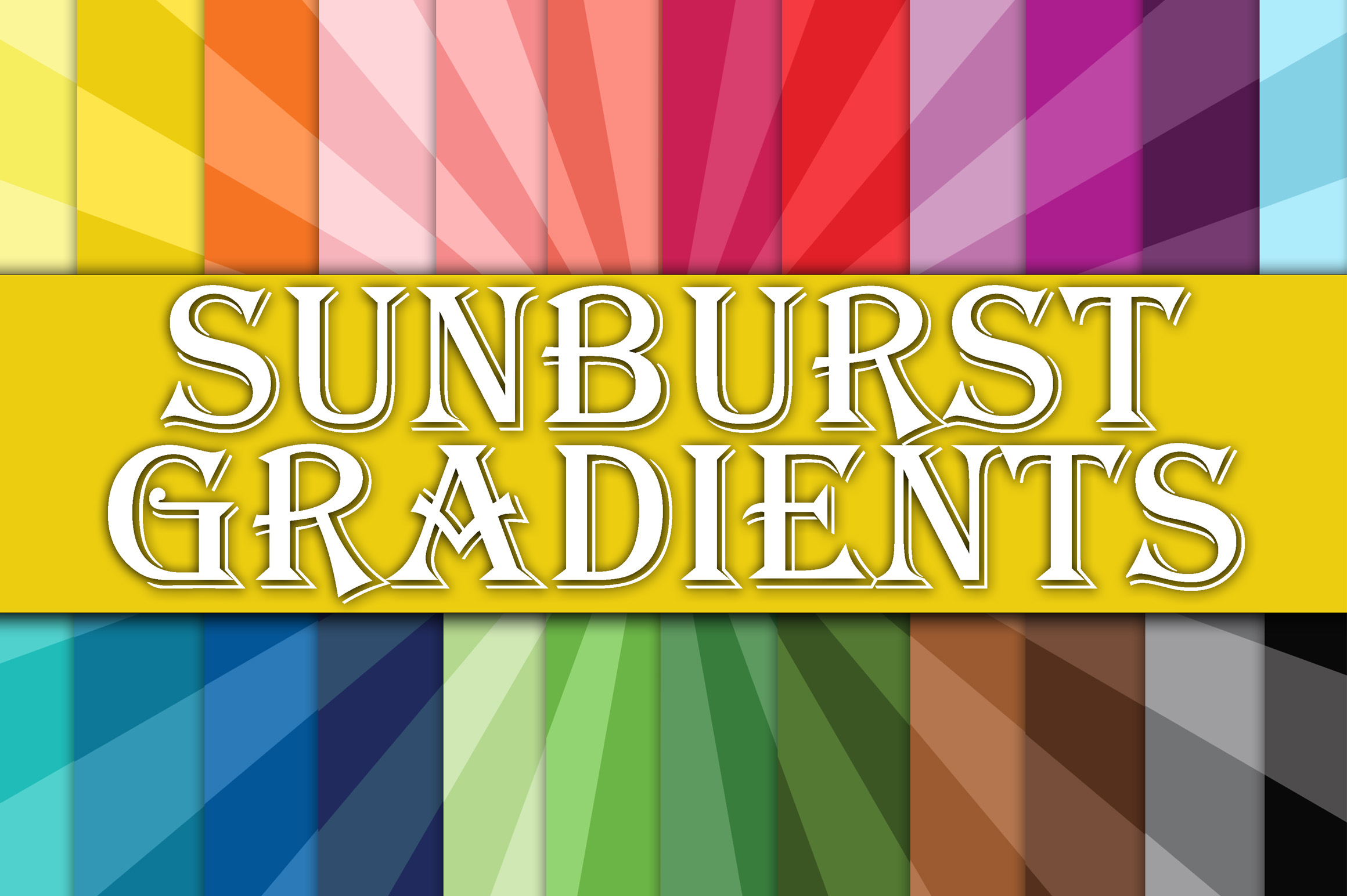 Print on Demand: Sunburst Ombre Gradients Digital Paper Graphic Backgrounds By oldmarketdesigns