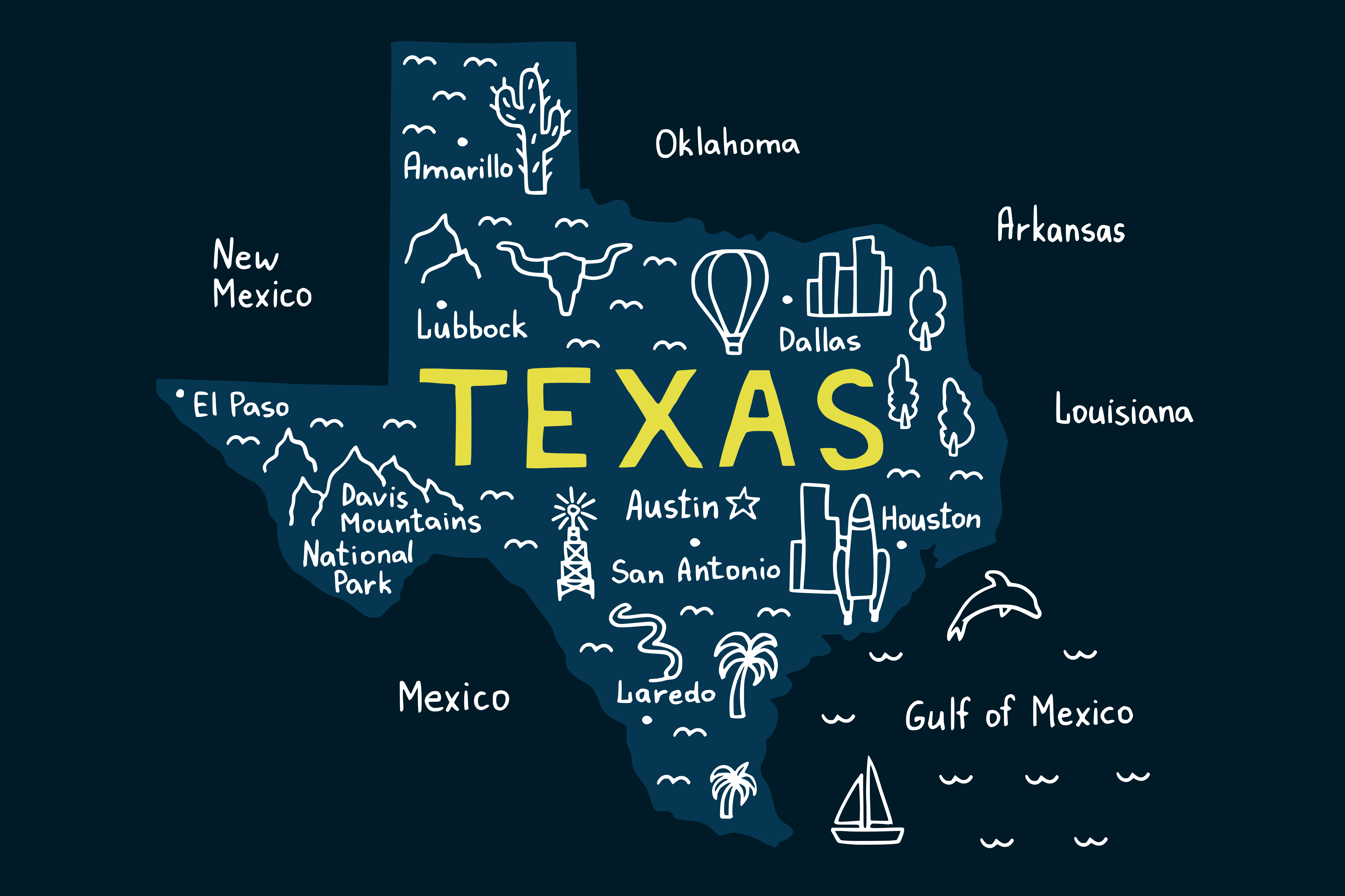 Texas Map Graphic Crafts By CrystalGiftsStudio