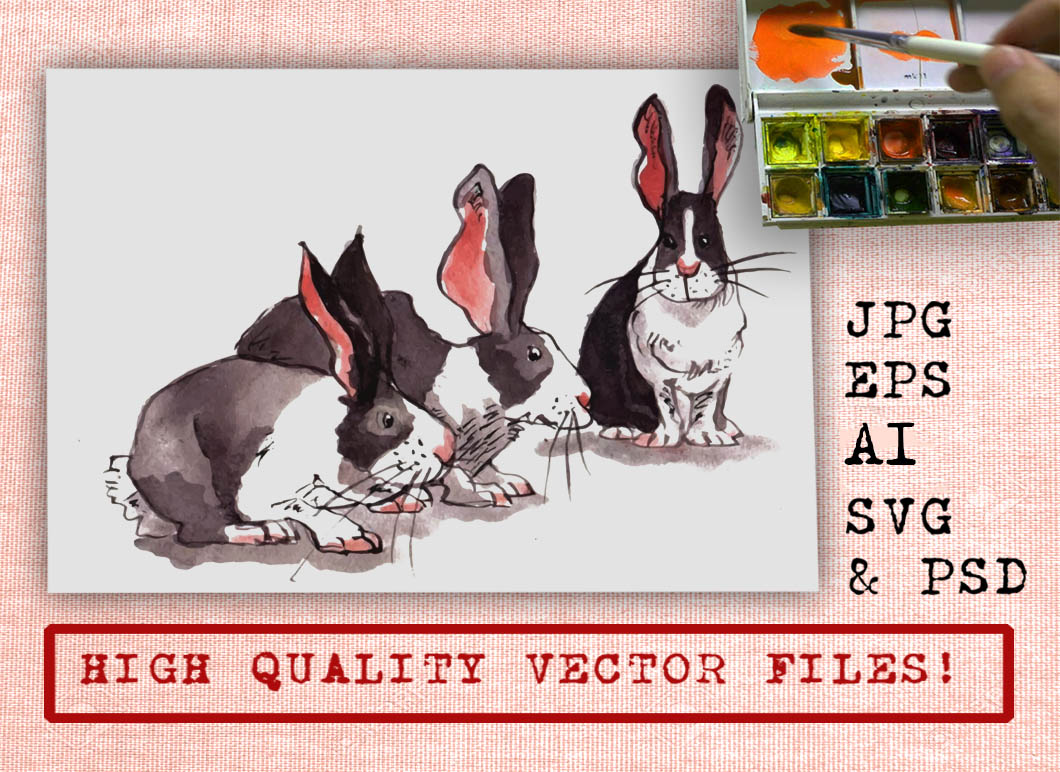 The Bunny Family Watercolor Graphic Illustrations By Ambar Art