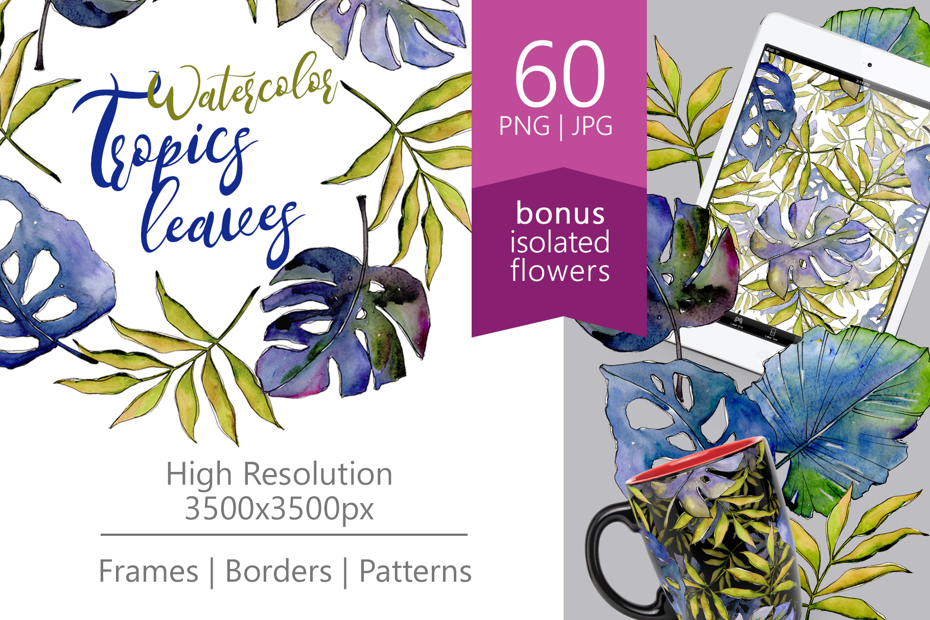 Print on Demand: Tropics Leaves PNG Watercolor Set Graphic Illustrations By MyStocks