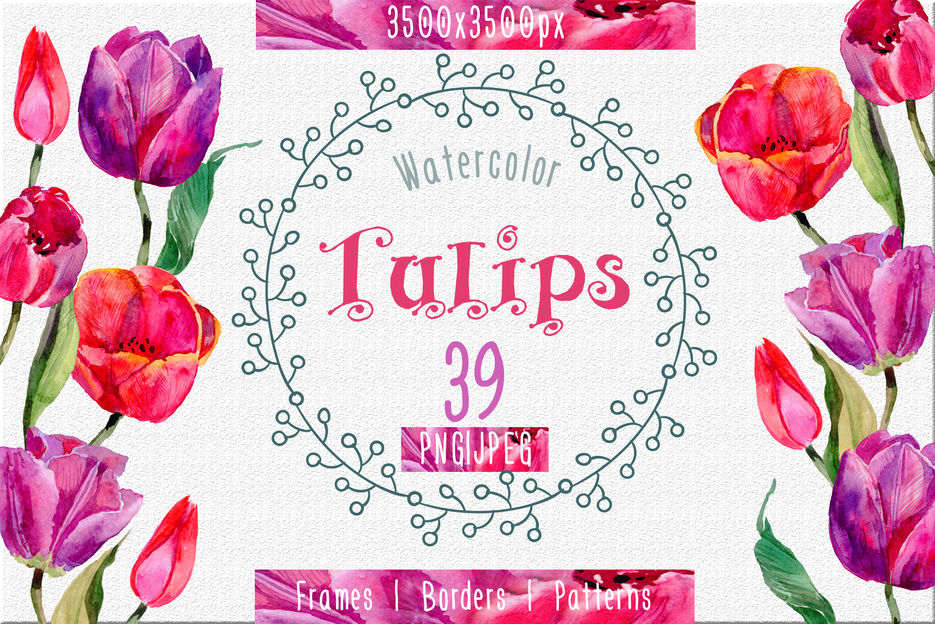 Print on Demand: Tulips PNG Watercolor Flower Set Graphic Illustrations By MyStocks