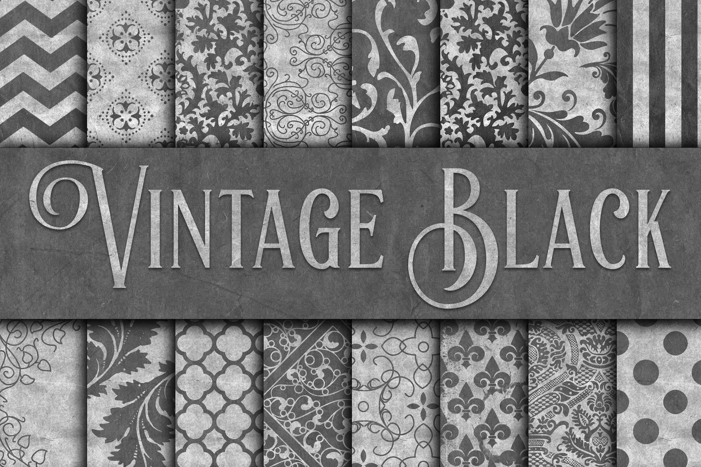 Vintage Black Digital Paper Graphic Backgrounds By oldmarketdesigns