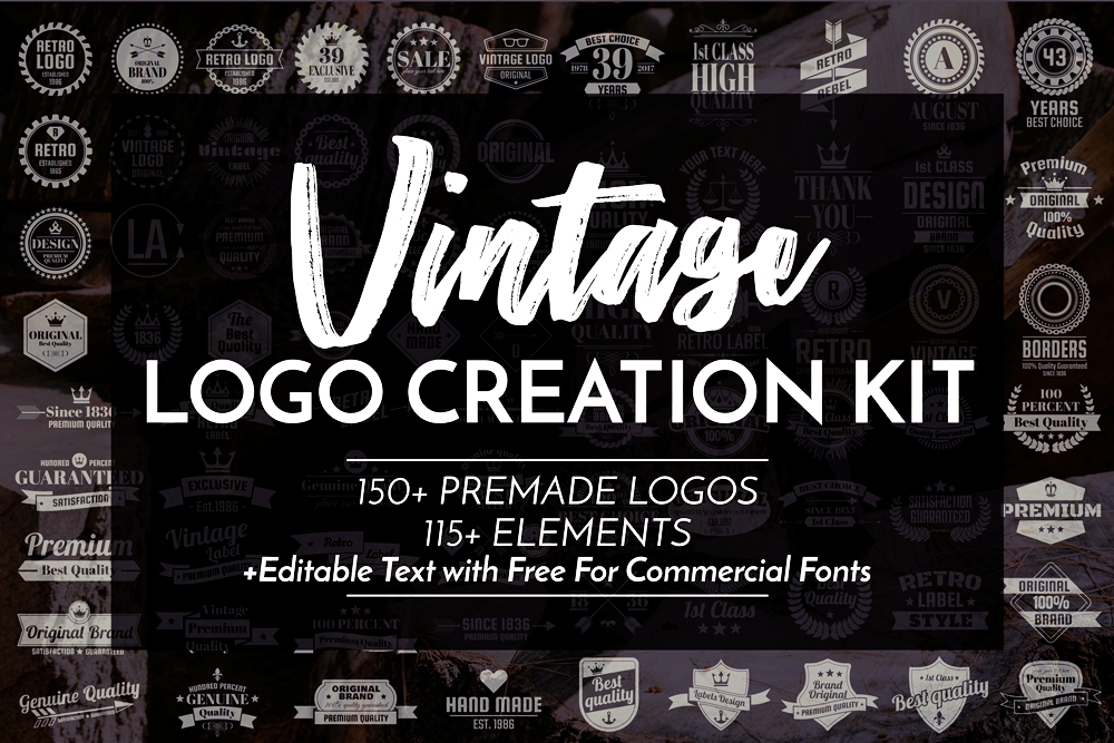 Print on Demand: Vintage Logo Creation Kit Graphic Logos By toonsteb