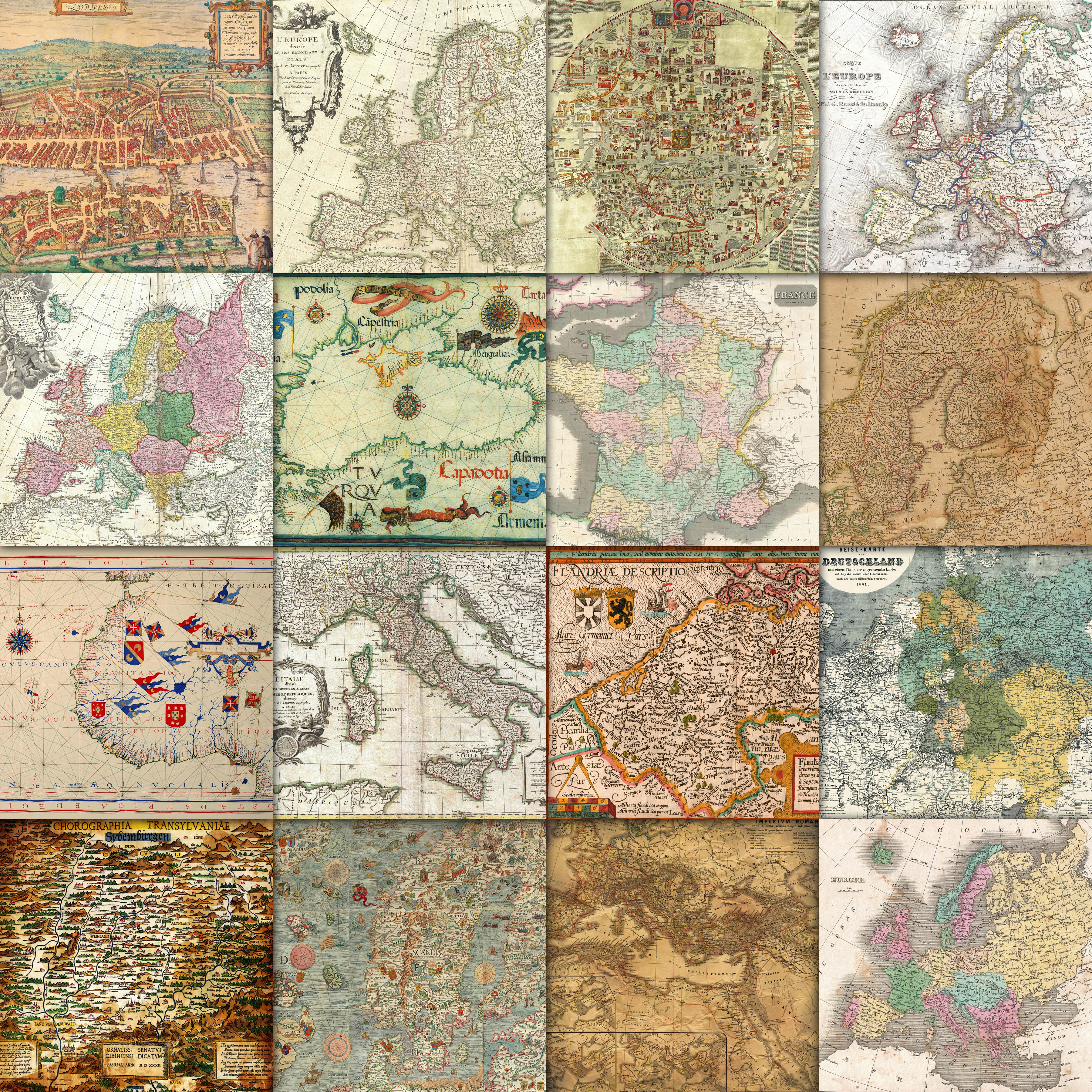 Vintage Maps of Europe Digital Paper Graphic Backgrounds By oldmarketdesigns - Image 2