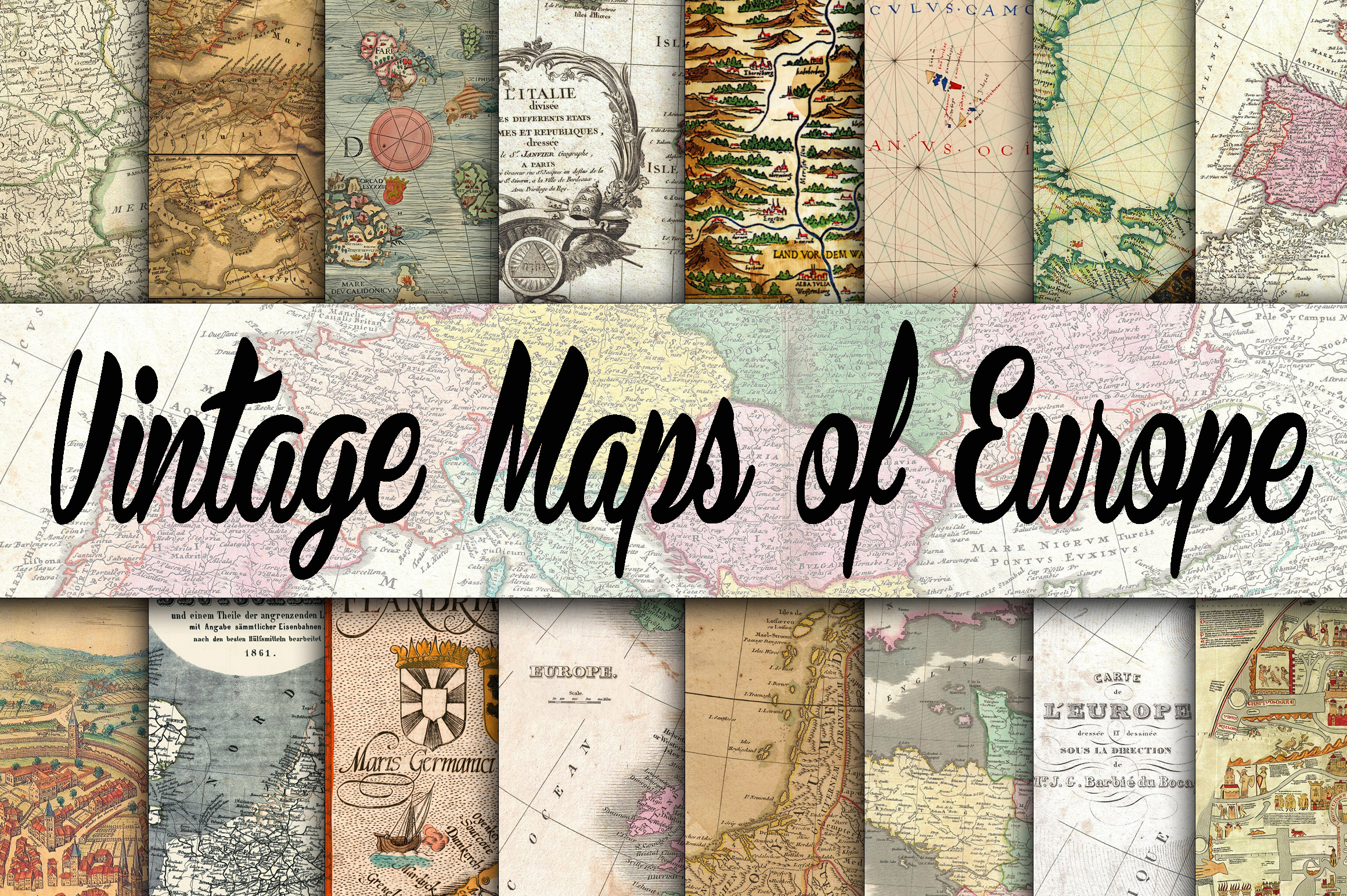 Vintage Maps of Europe Digital Paper Grafik Hintegründe von oldmarketdesigns