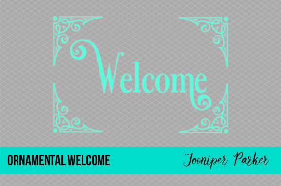 Download Free Vintage Ornamental Welcome Sign Graphic By Jooniper Parker for Cricut Explore, Silhouette and other cutting machines.
