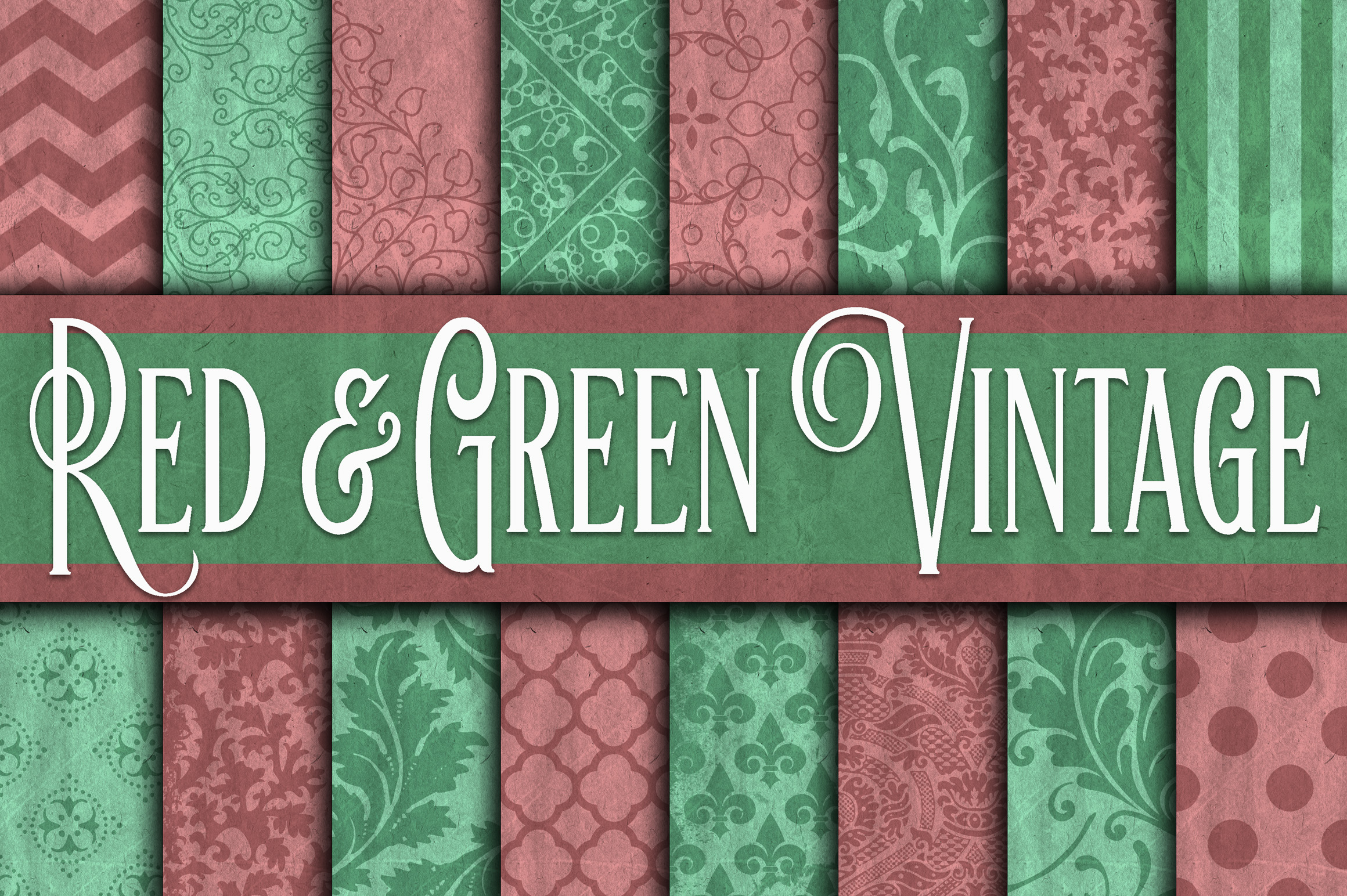 Print on Demand: Vintage Red & Green Digital Paper - Christmas Digital Paper Graphic Backgrounds By oldmarketdesigns