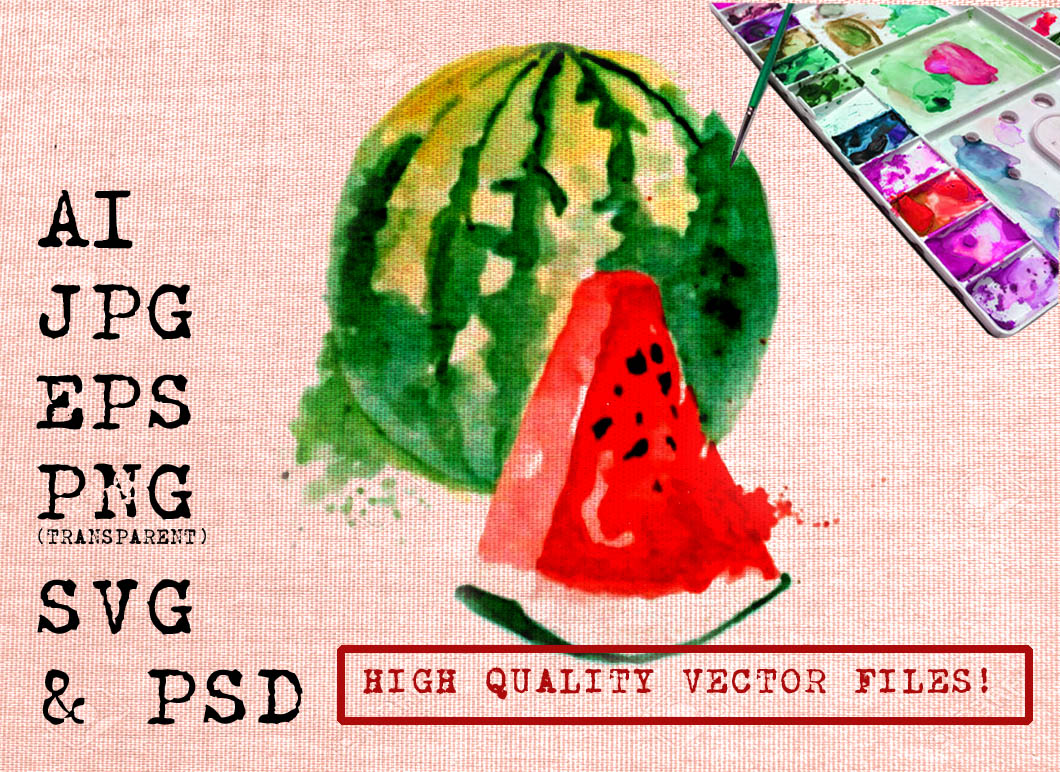 WATERMELON WATEROLOR Graphic Illustrations By Ambar Art