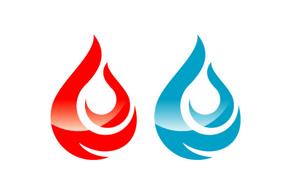 Print on Demand: Water and Fire Graphic Icons By harisprawoto