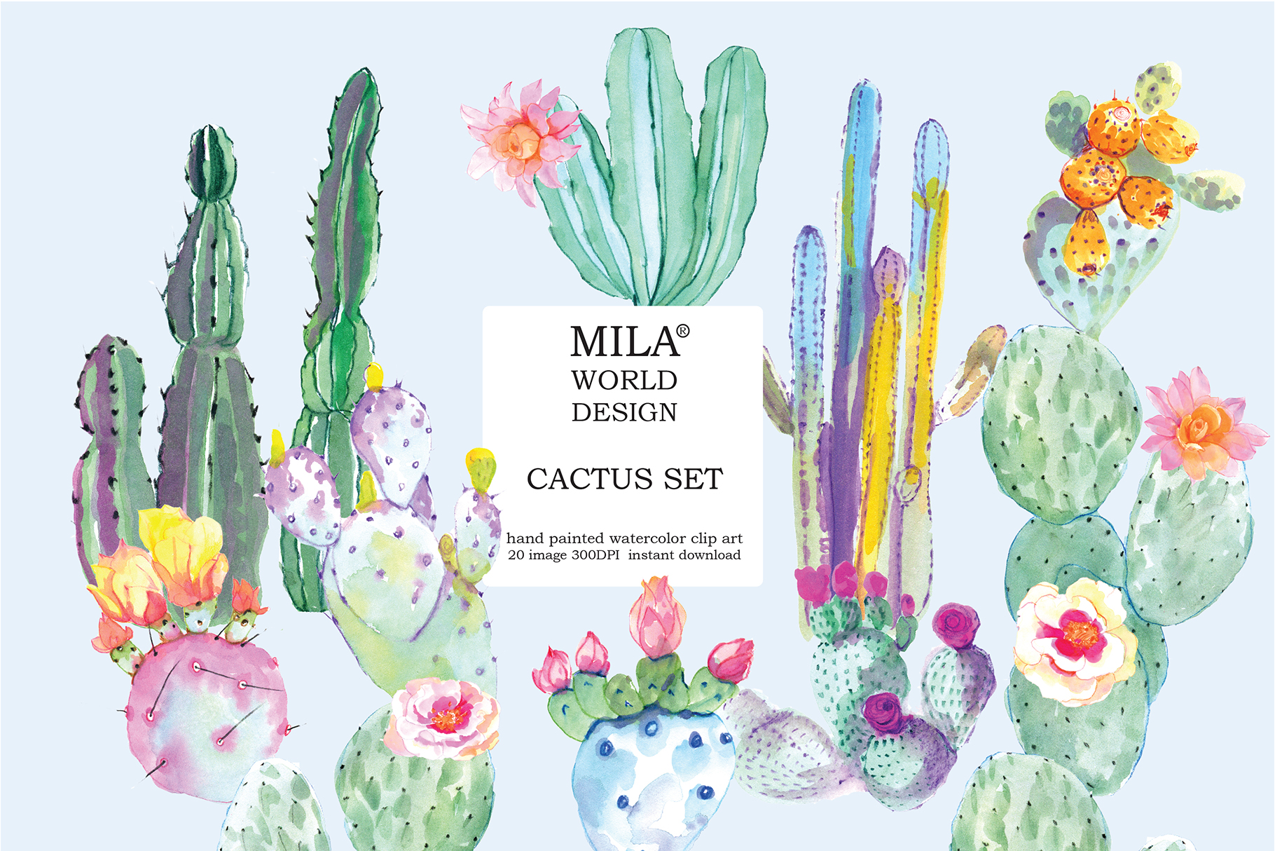 Download Free Watercolor Cactus Clipart Graphic By Milaworlddesing Creative for Cricut Explore, Silhouette and other cutting machines.