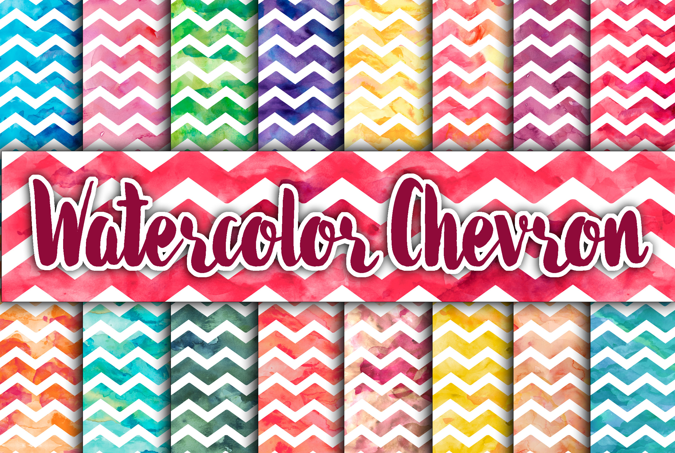 Watercolor Chevron Digital Paper Textures Graphic Backgrounds By oldmarketdesigns